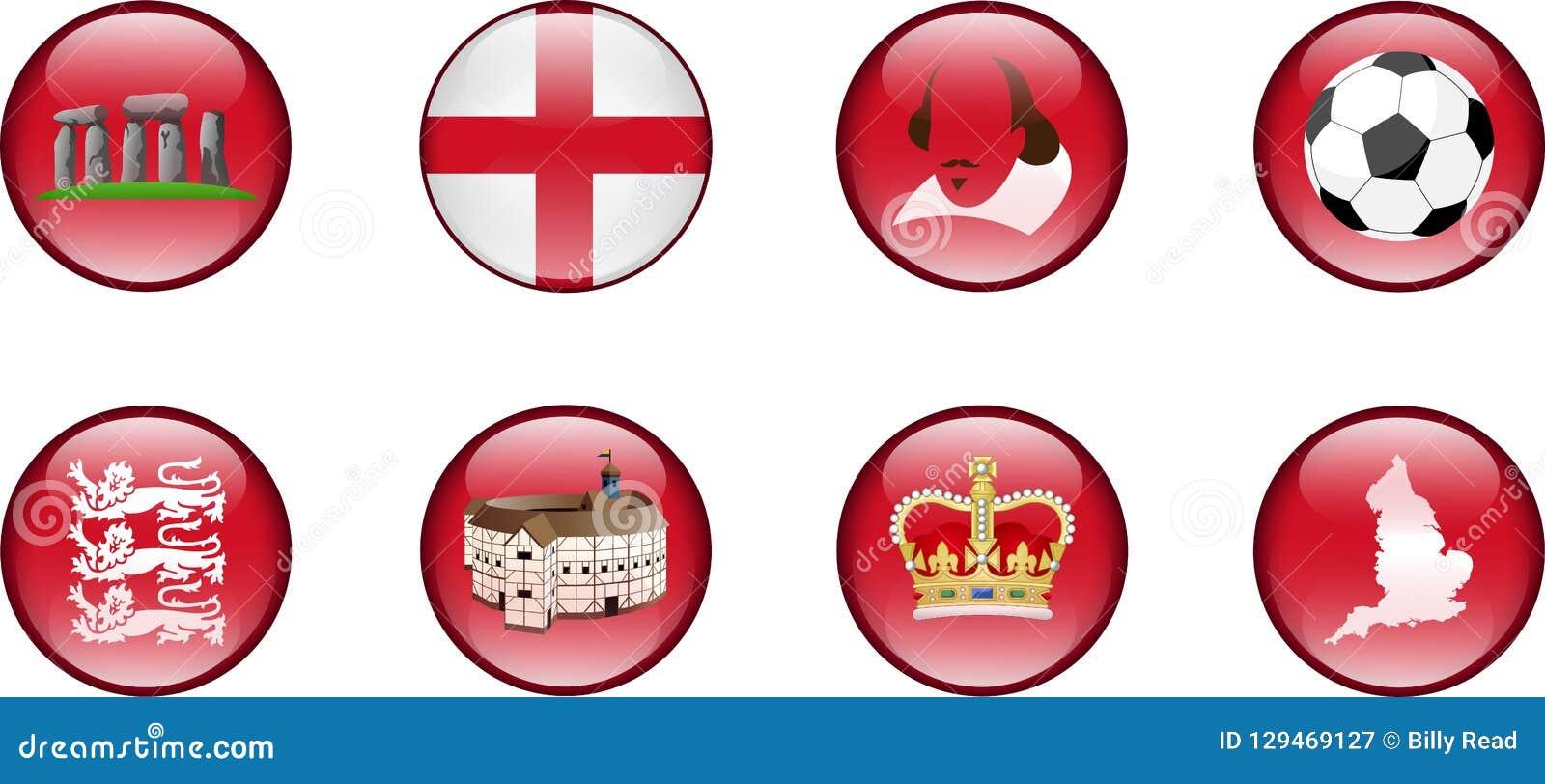 Un sistema de iconos brillantes de Inglaterra