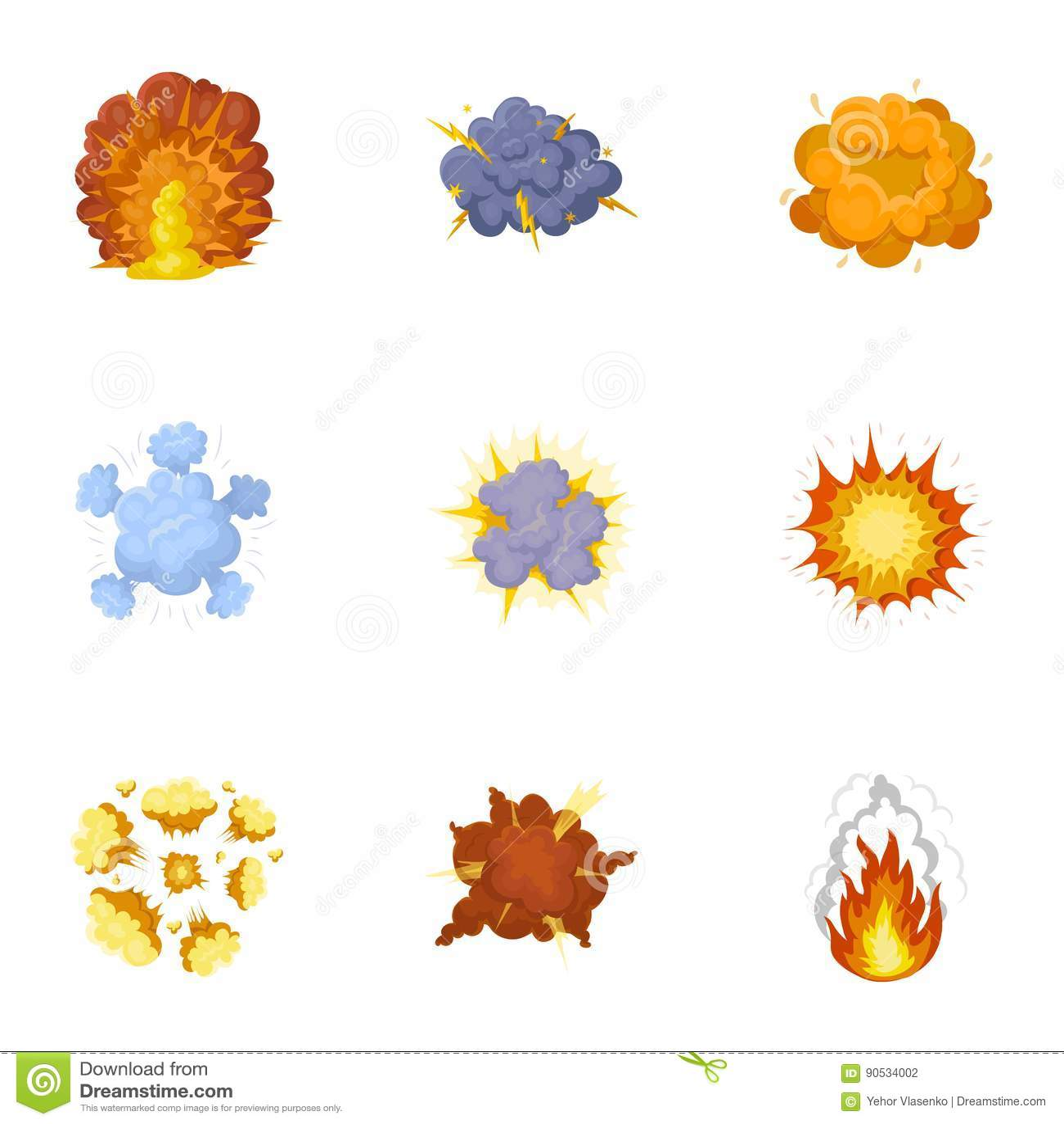 Un sistema de iconos sobre la explosión Diversas explosiones, una nube del humo y fuego Icono de las explosiones en la colección