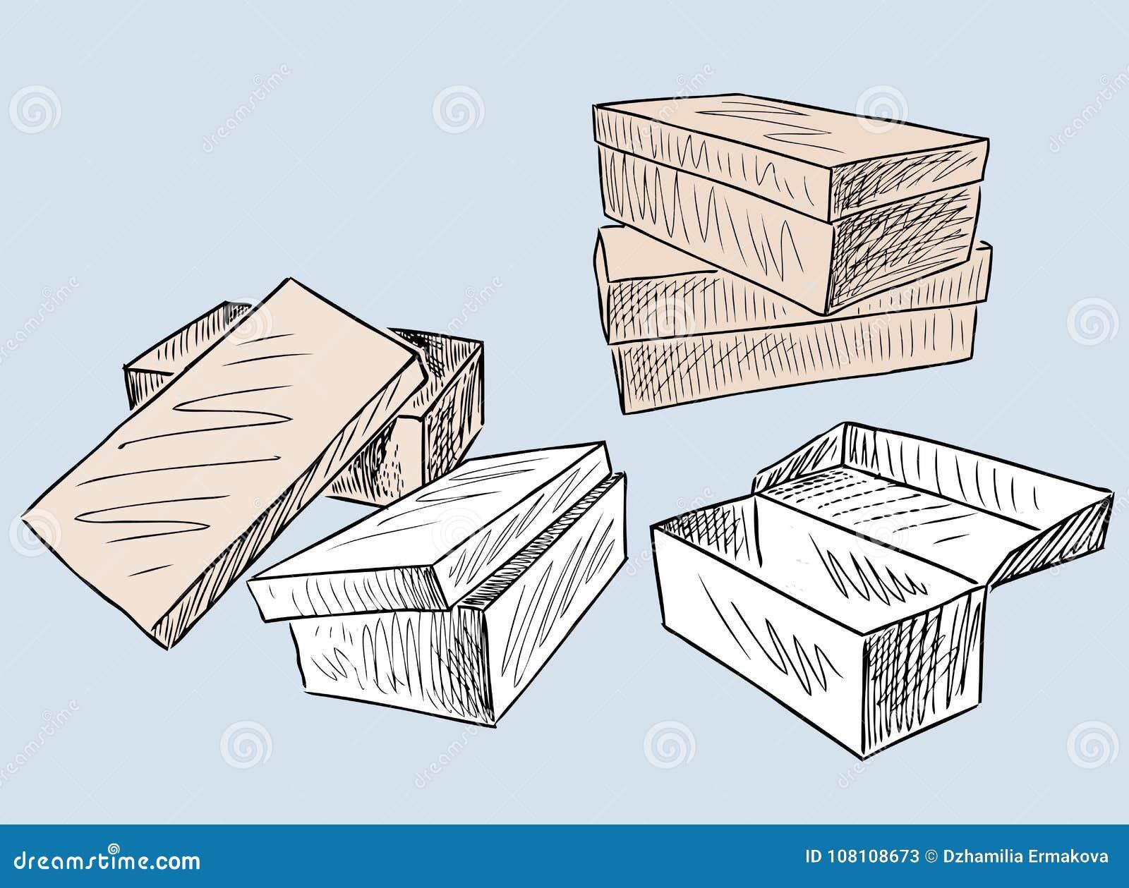 Un Sistema De Las Cajas Para El Calzado Ilustración Del Vector Ilustración De Zapatos Trazado 108108673