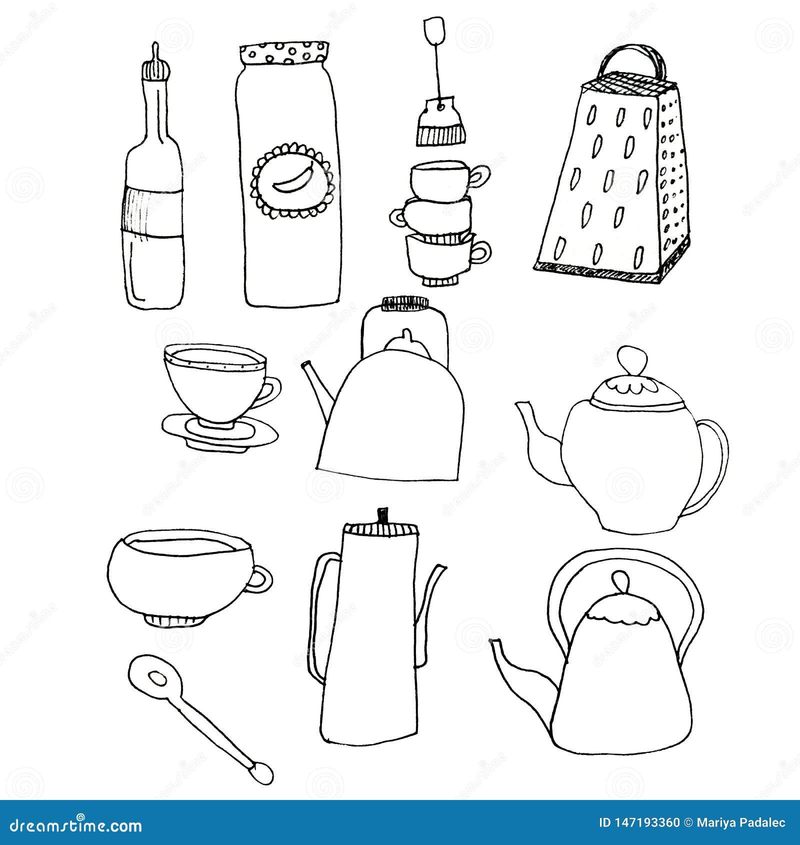 Un sistema de los art?culos para la cocina Utensilios de la cocina en un fondo blanco aislado Elementos para el dise?o r