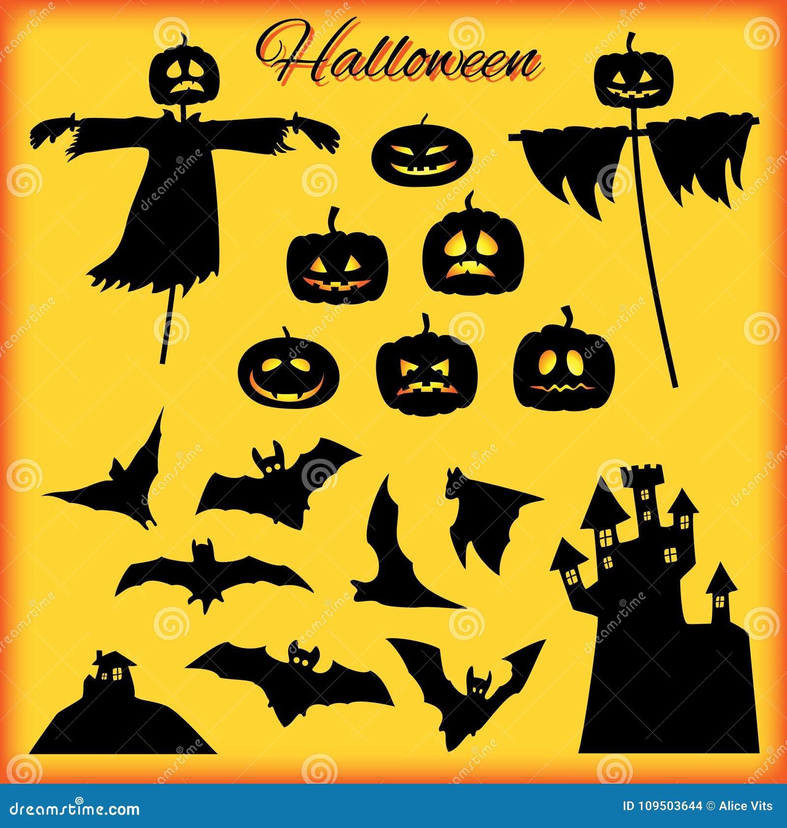 Un sistema de los elementos de Halloween, negro en fondo brillante