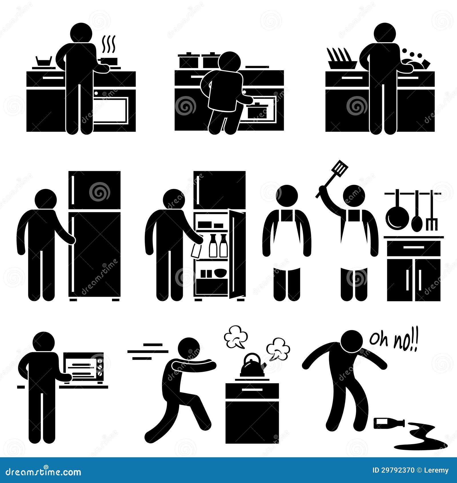 Hombre que cocina lavarse en el pictograma de la cocina