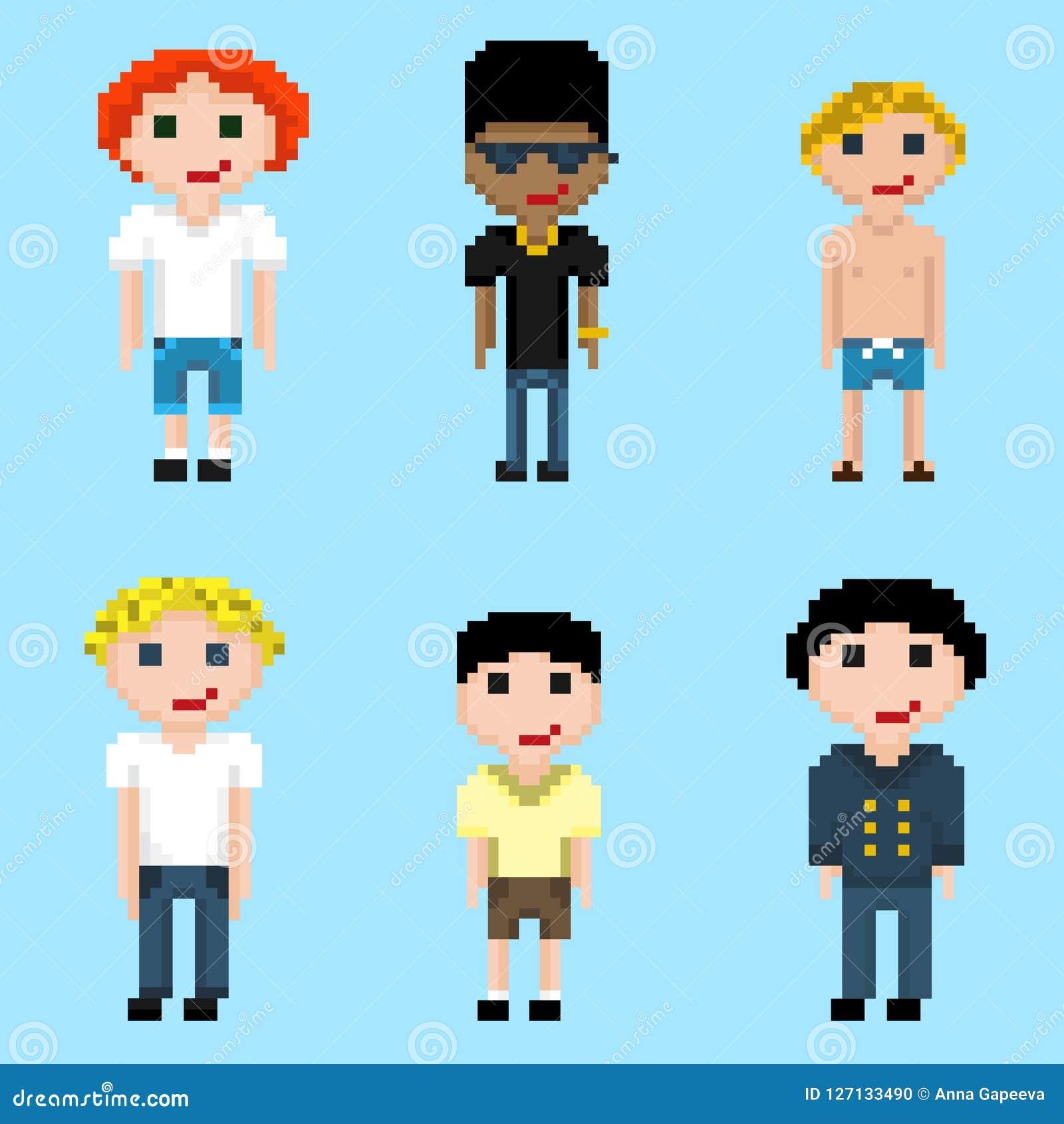 Un sistema de seis imágenes de los varones del pixel