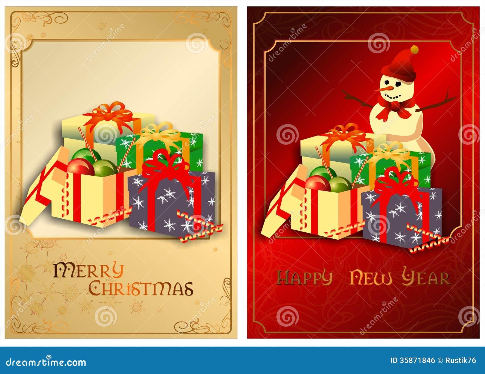 Un sistema de tarjetas de Navidad. 01 (vector)