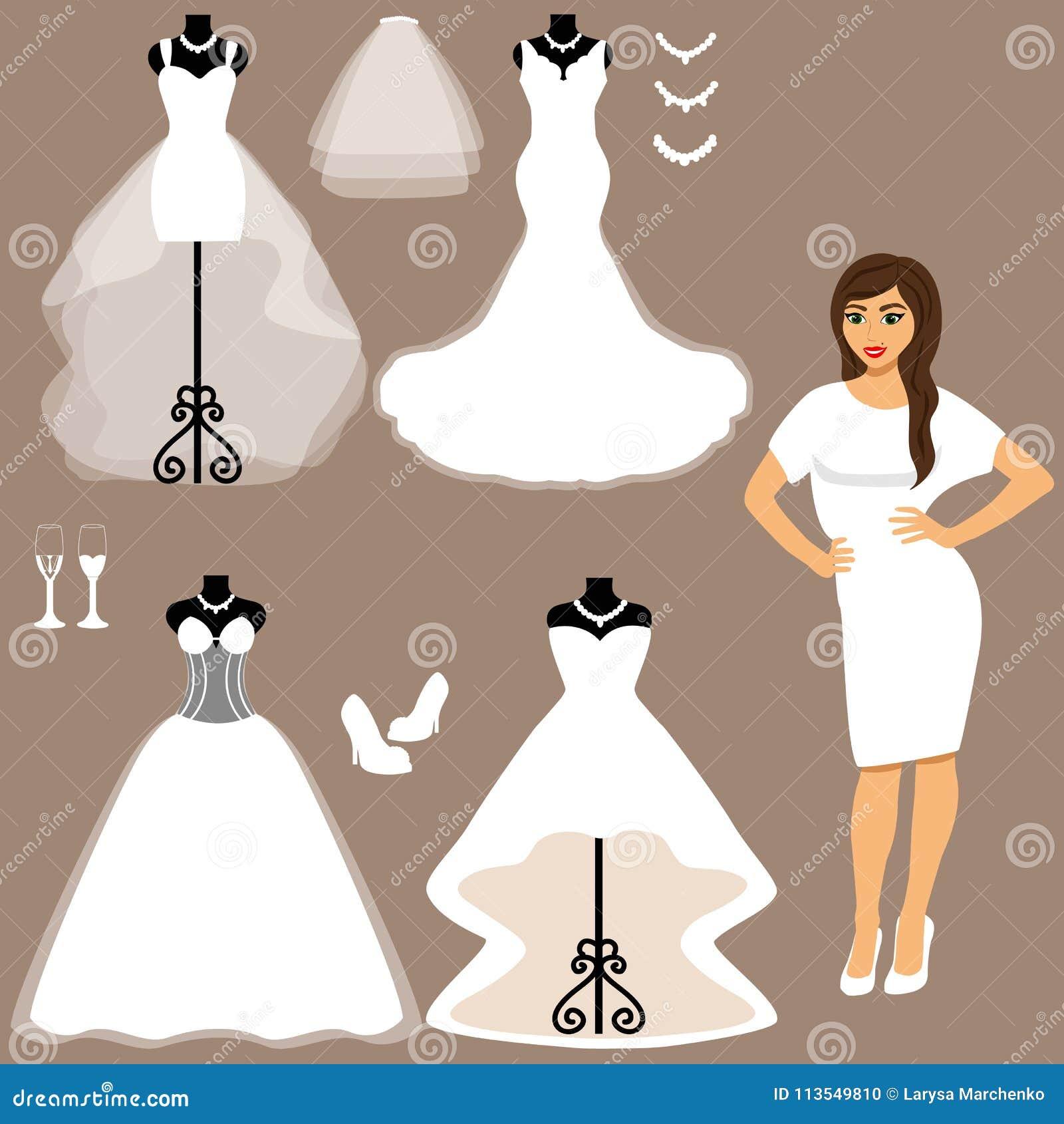 6a90917f9 Un Sistema De Vestidos De Boda La Opción Ilustración del Vector ...