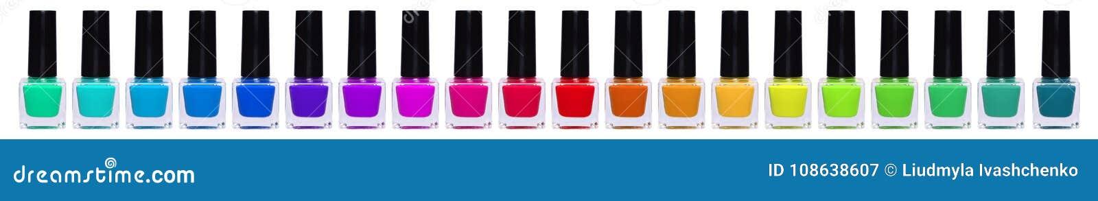 Un sistema grande de esmaltes de uñas multicolores Tarros del arco iris con el esmalte de uñas