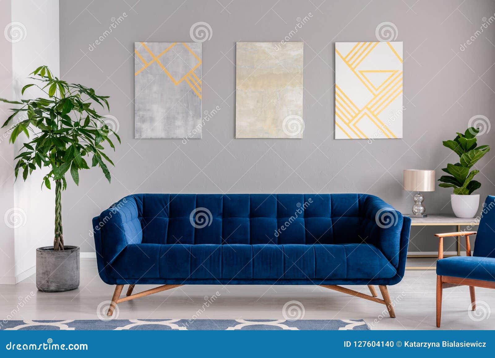 Un sofá azul marino del terciopelo delante de una pared gris con las pinturas gráficas en un interior moderno de la sala de estar