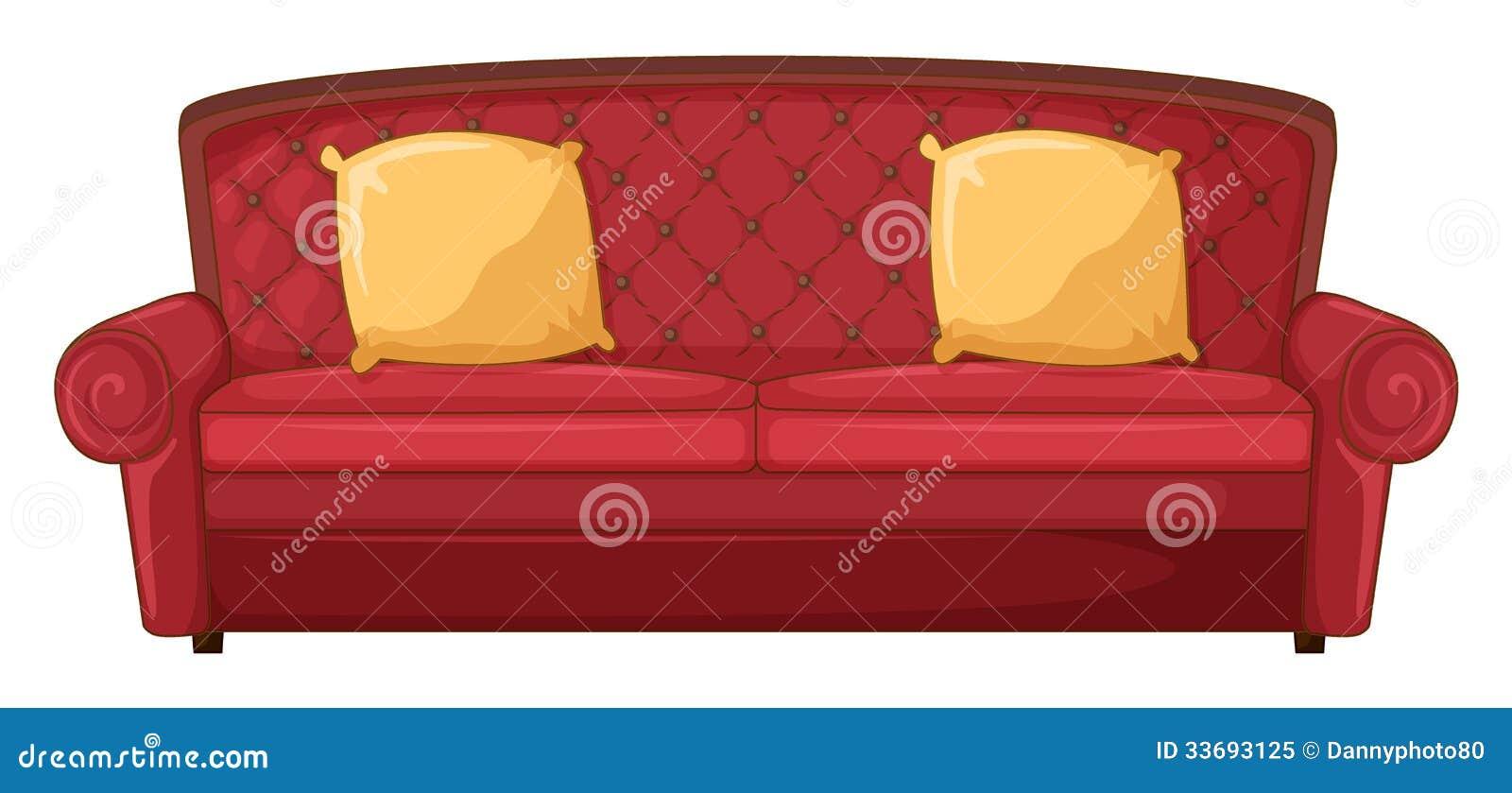 un sofa rouge et des coussins jaunes illustration stock. Black Bedroom Furniture Sets. Home Design Ideas