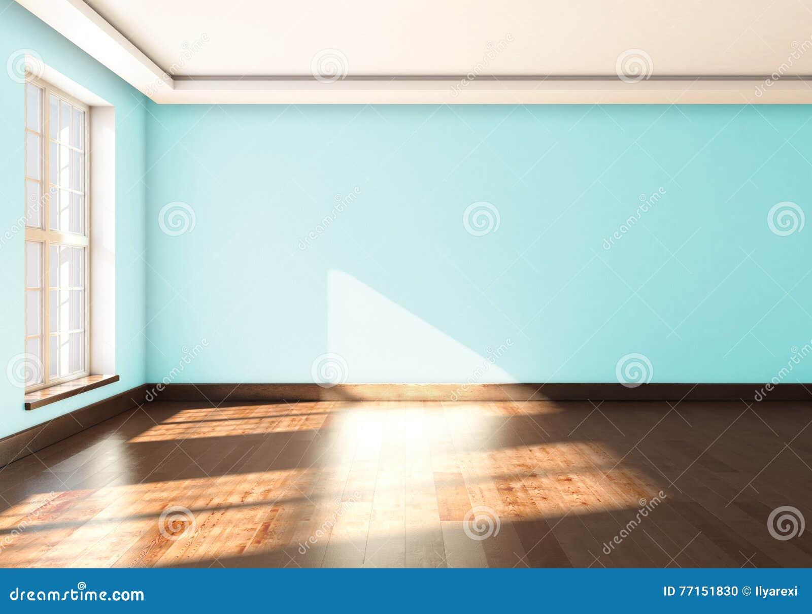 Un studio vide avec la fenêtre et la couleur bleue de mur rendu 3d