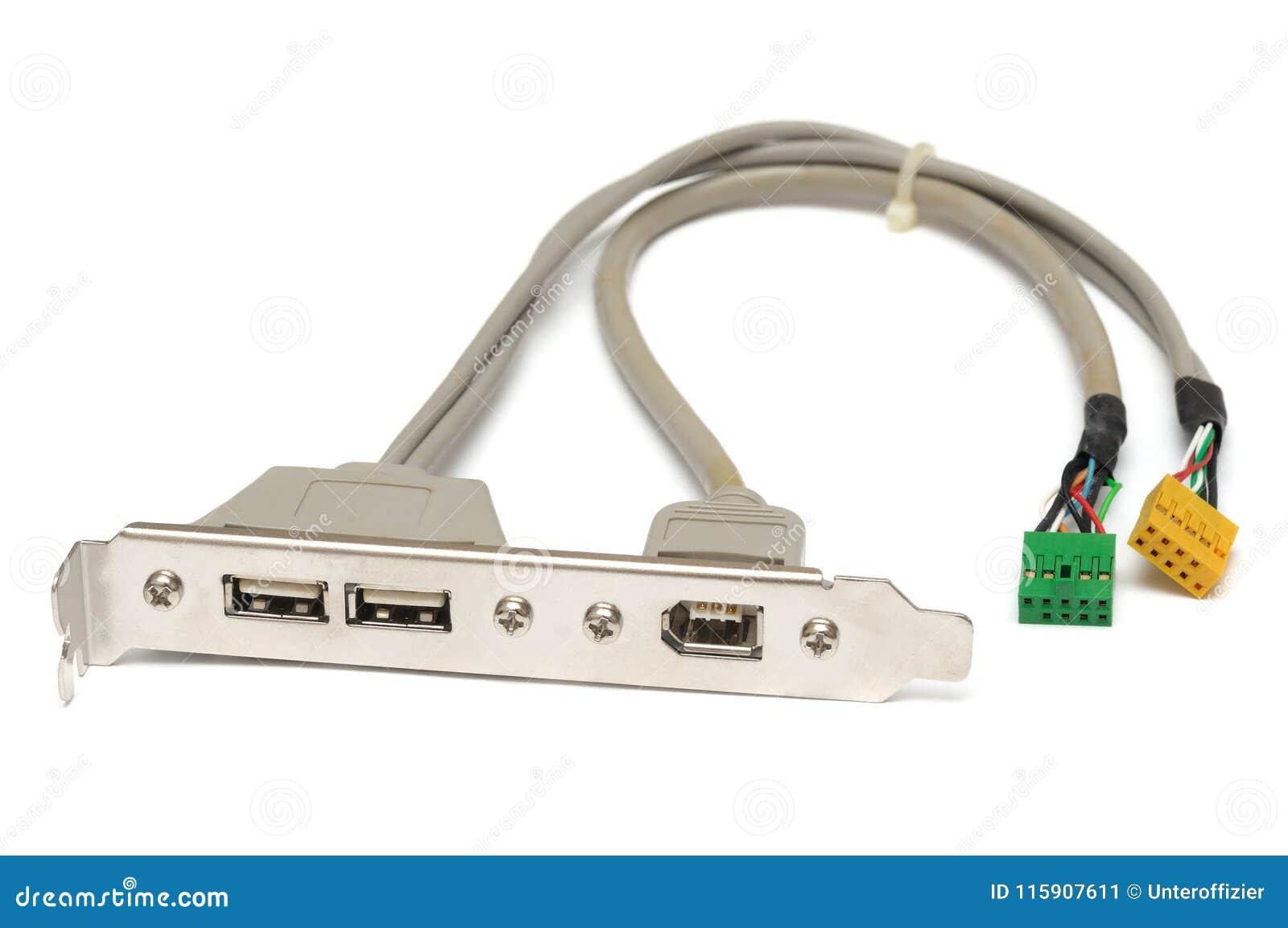 Un support d arrière d ordinateur avec des ports de bus série universel et le câble d incendie mettent en communication