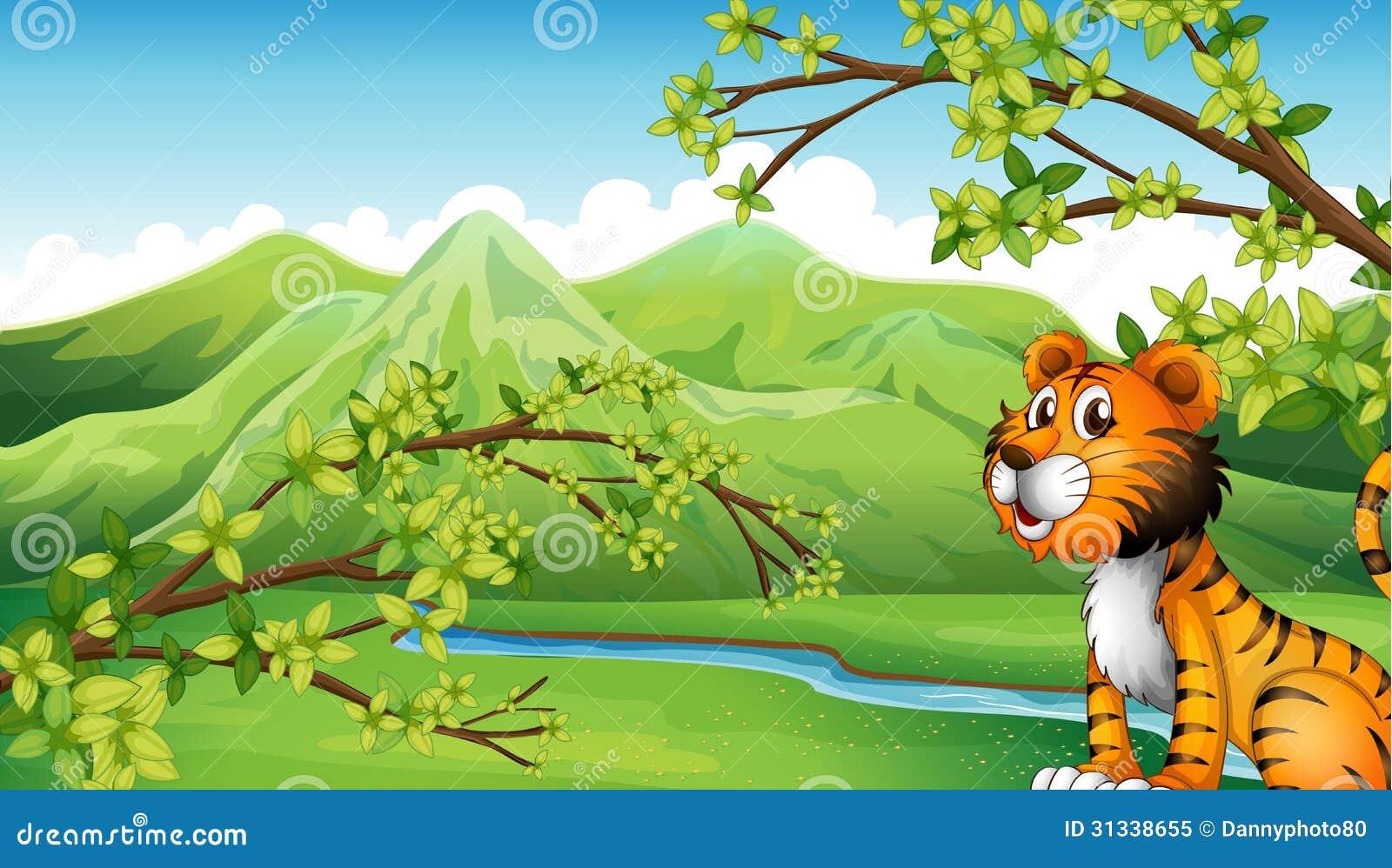 un tigre dans un paysage de montagne illustration de vecteur illustration du bleu retrait. Black Bedroom Furniture Sets. Home Design Ideas