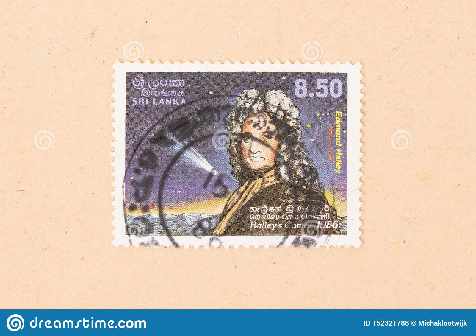 Un timbre imprimé dans Sri Lanka montre la comète de Halley, vers 1980