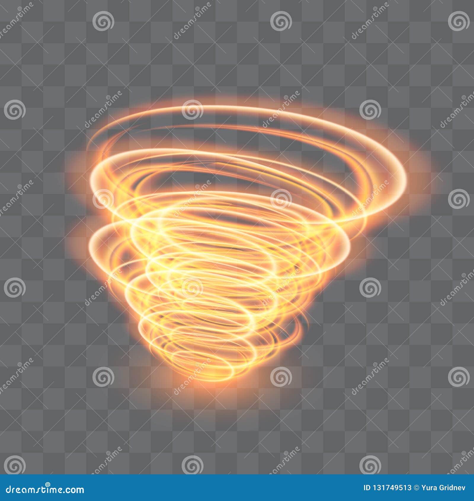 Un tornado d ardore Vento girante Bello effetto di vento isolato su un fondo trasparente Illustrazione di vettore