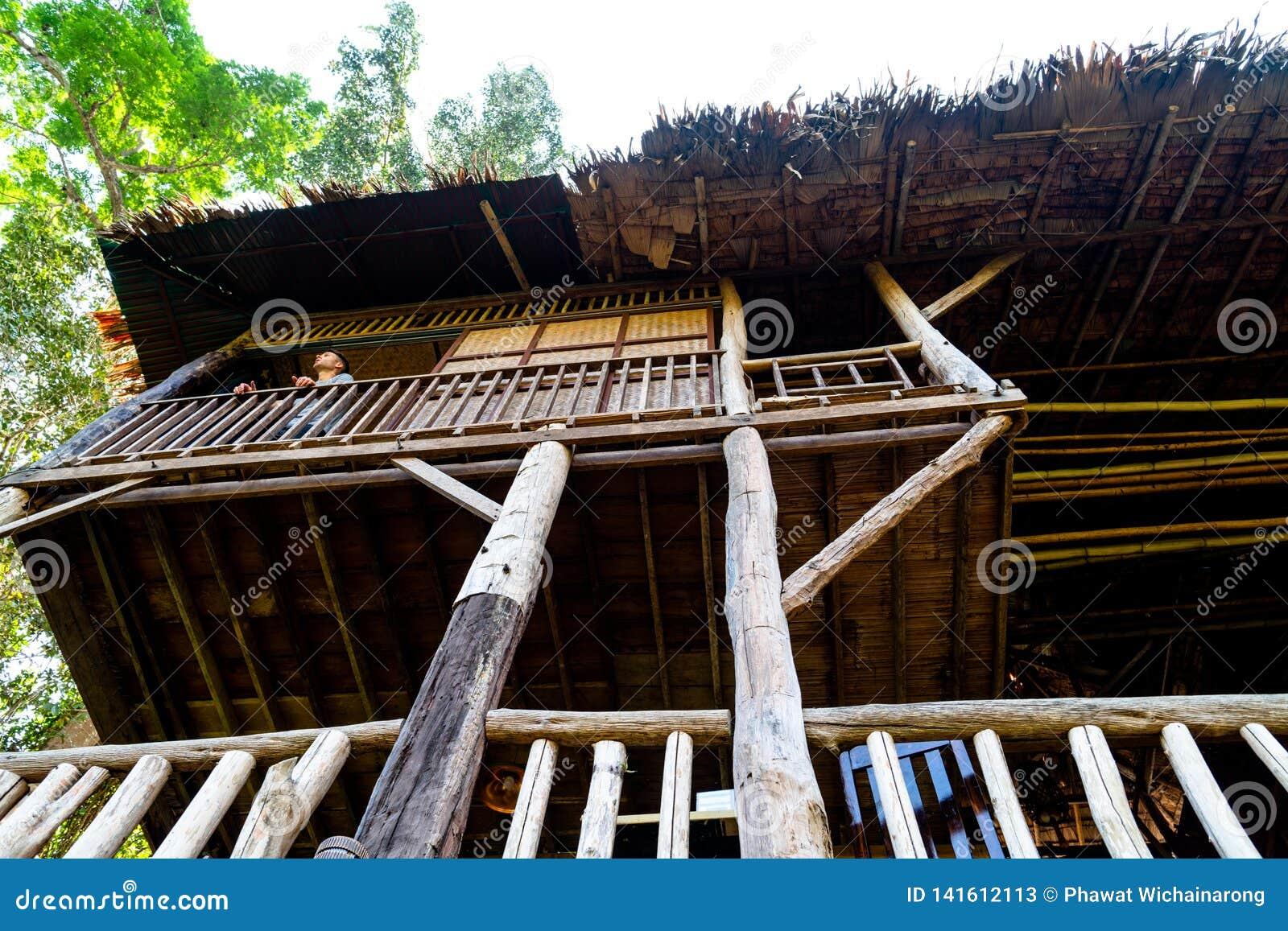Un touriste se tient au porche d une cabane dans un arbre en bois