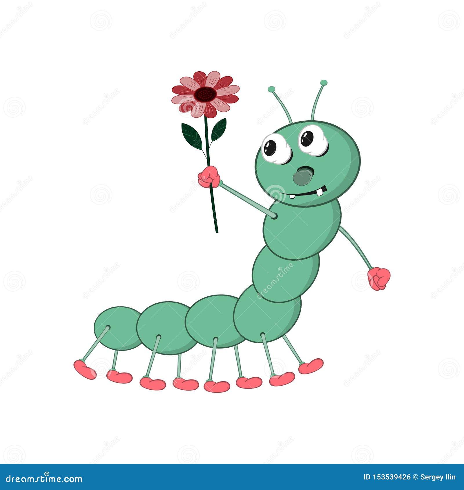 Un trattore a cingoli divertente di verde del fumetto tiene un fiore rosso nella suoi mano e sguardi