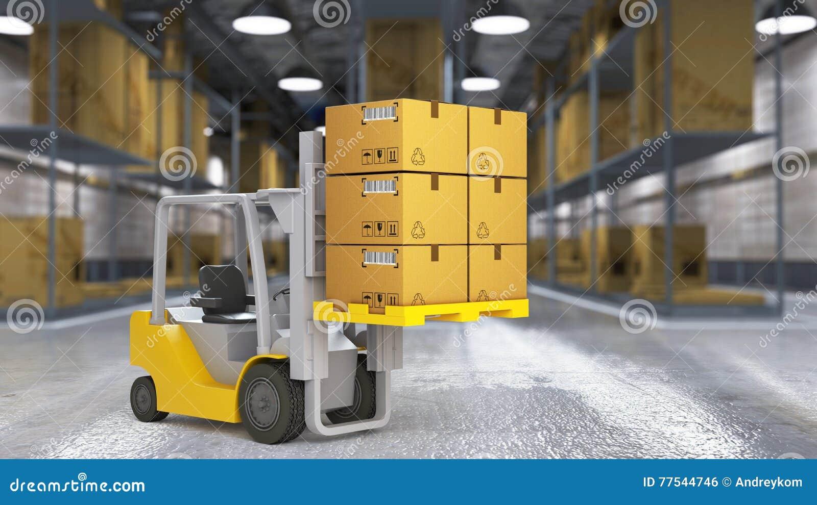 Un travailleur dans un entrepôt de distribution énorme avec de hautes étagères
