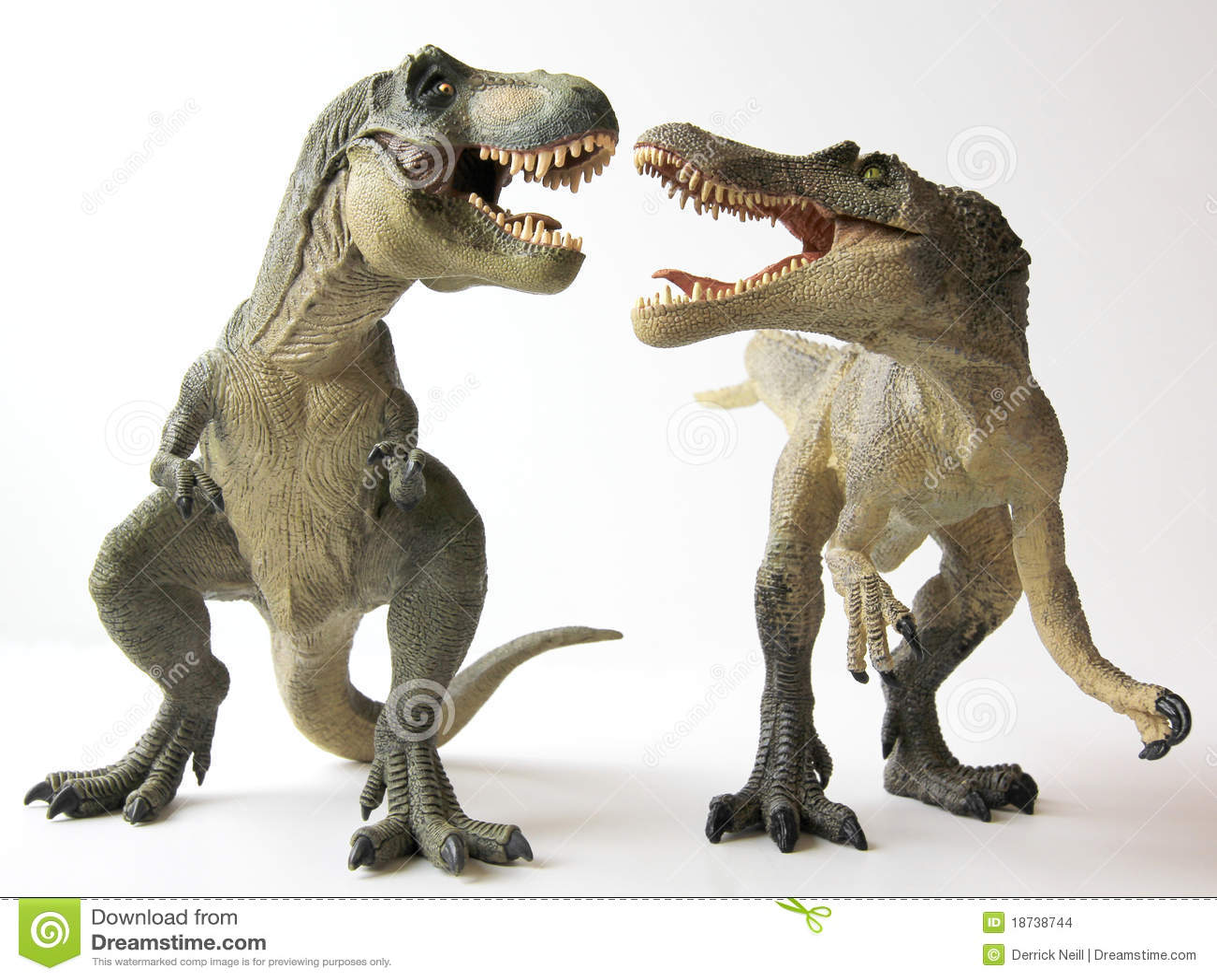 Un Tyrannosaurus Rex lutte un Spinosaurus