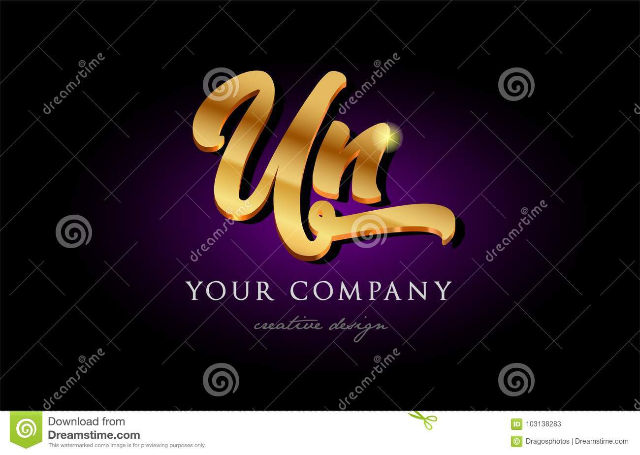 Un U N 3d Gold Golden Alphabet Letter Metal Logo Icon Design H Stock