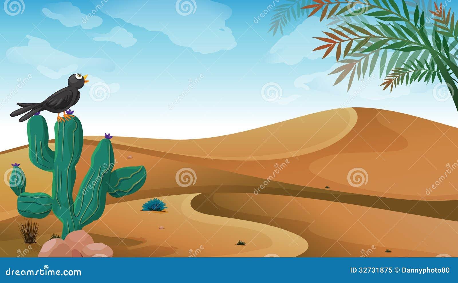 Un uccello sopra la pianta del cactus al deserto