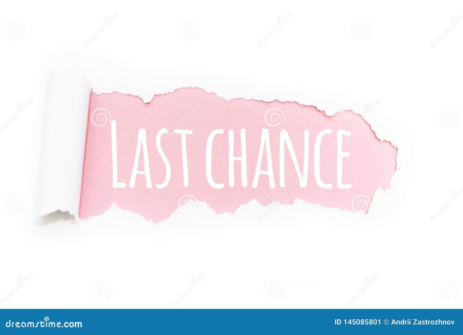 """Un ultima opportunità di titolo """"nella rottura di carta su un fondo rosa"""