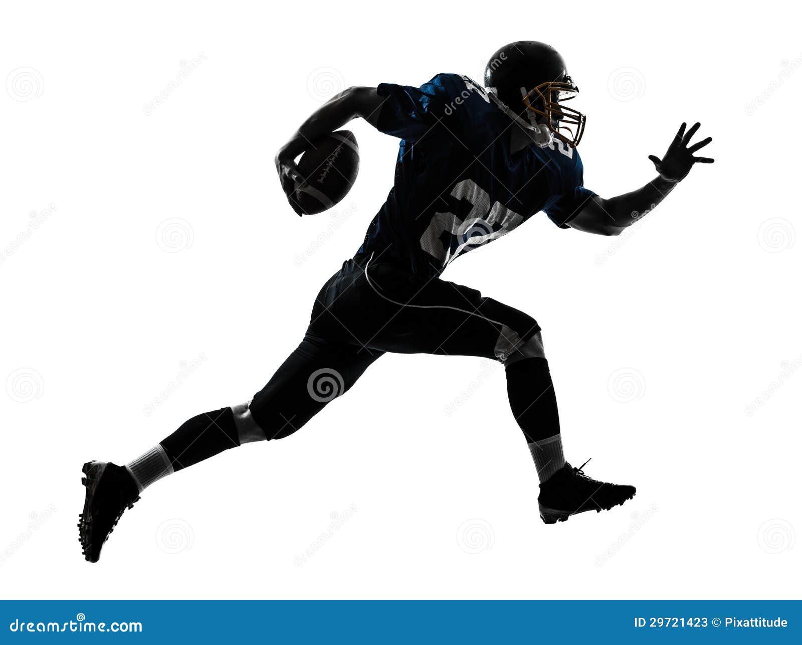 Siluetta corrente dell uomo del giocatore di football americano