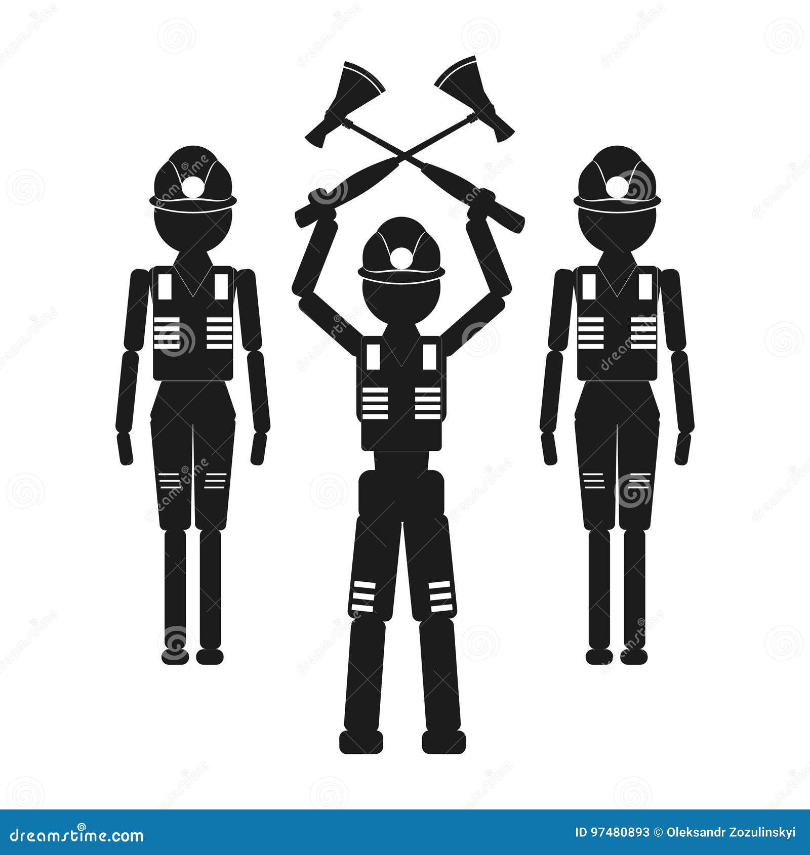 Un uomo con due asce e due assistenti Vector l icona nera su fondo bianco