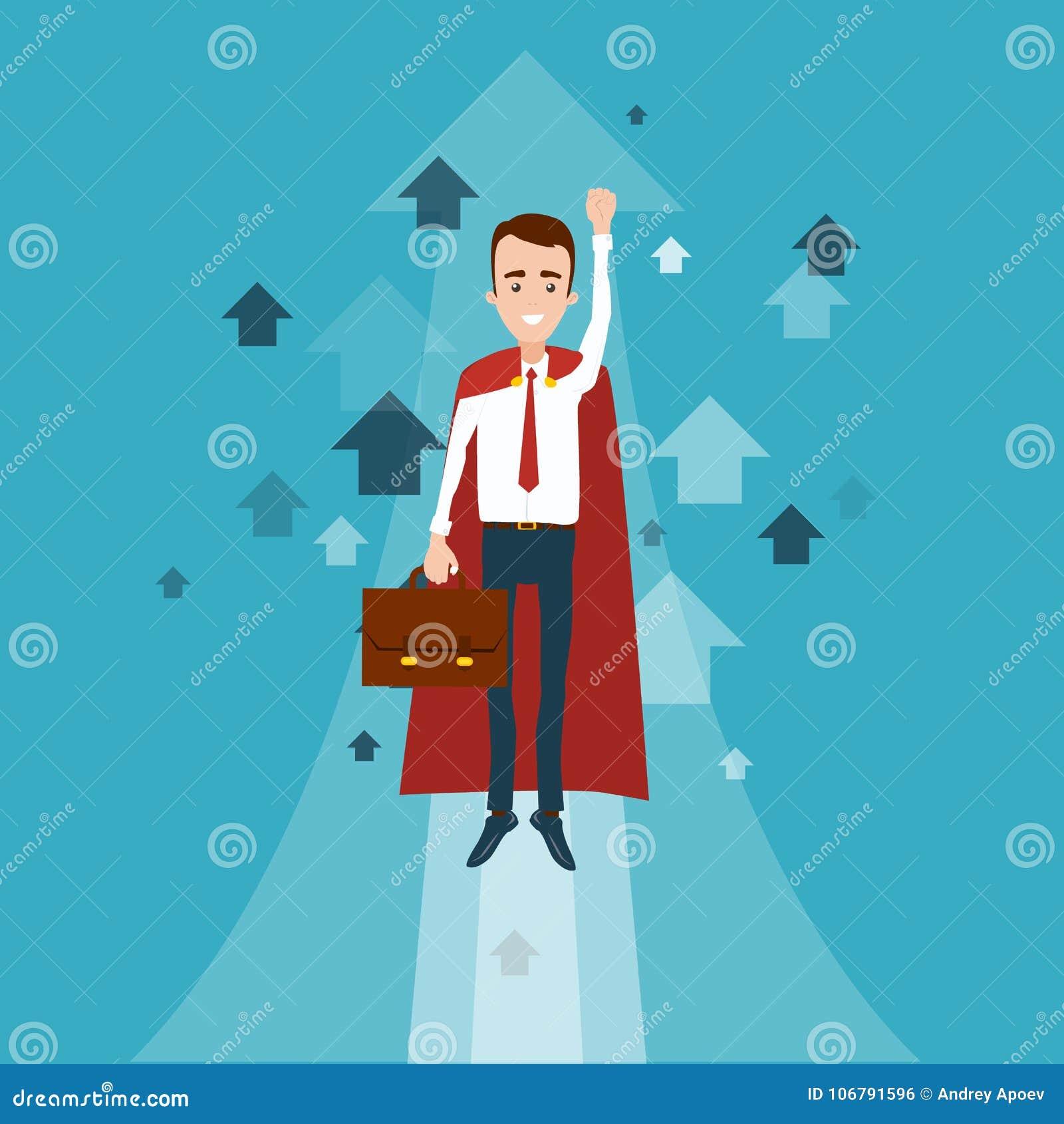 Un uomo d affari del supereroe con una cartella in sua mano ha volato su Molte frecce che indicano verso l alto