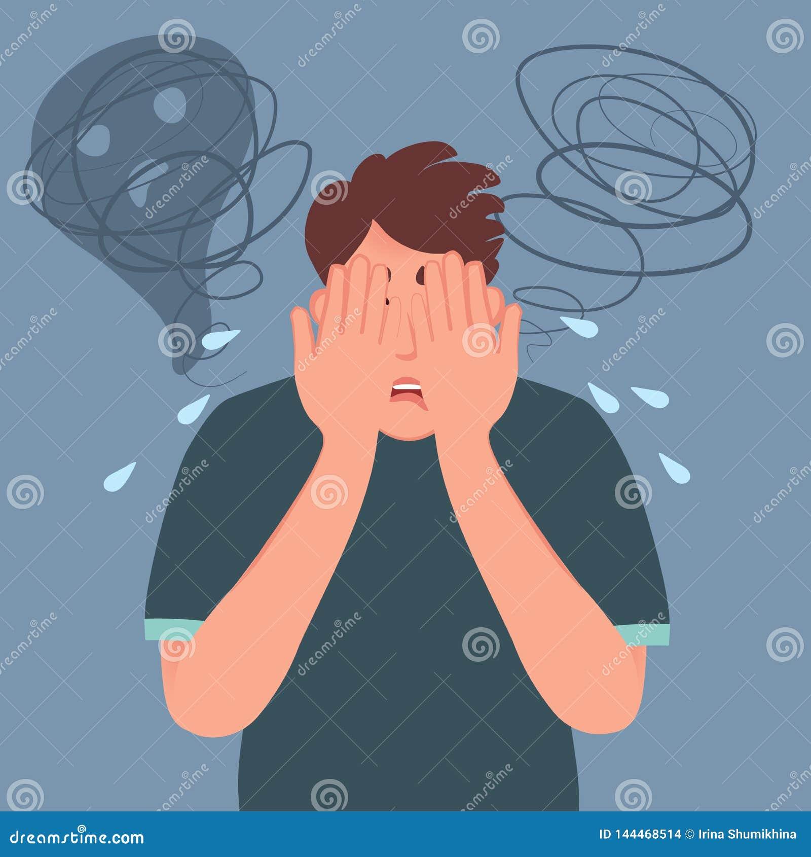 Un uomo nella depressione e nel timore ha coperto il suo fronte di di suoi mani e gridare Espressioni facciali, emozioni e gesti
