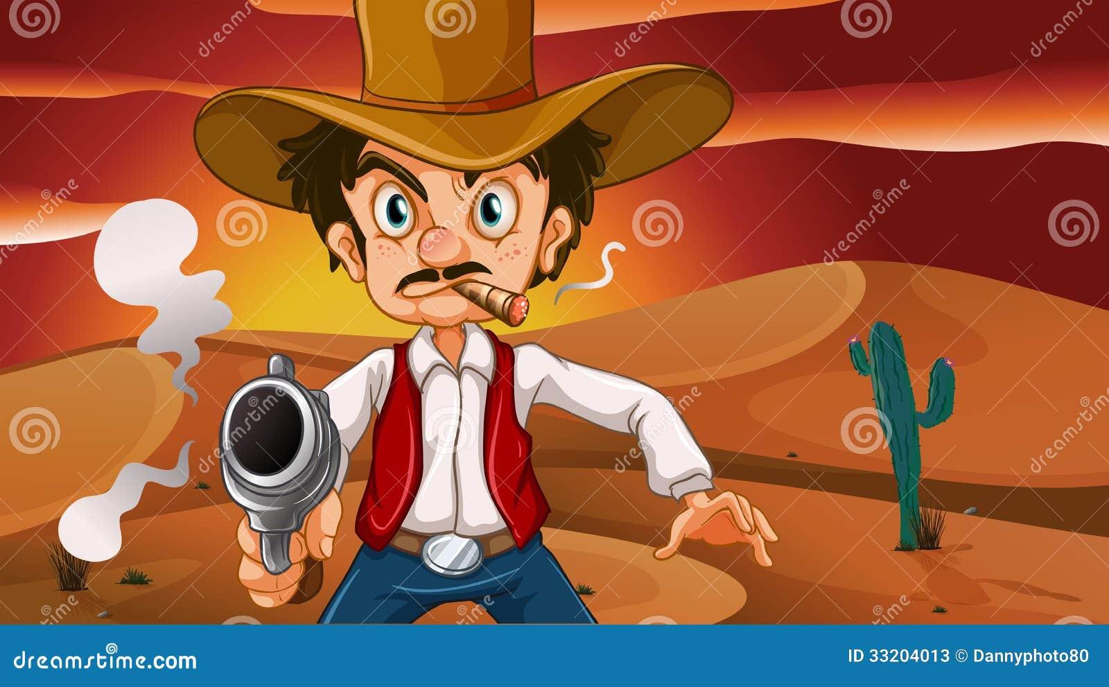 Un vaquero enojado con un arma
