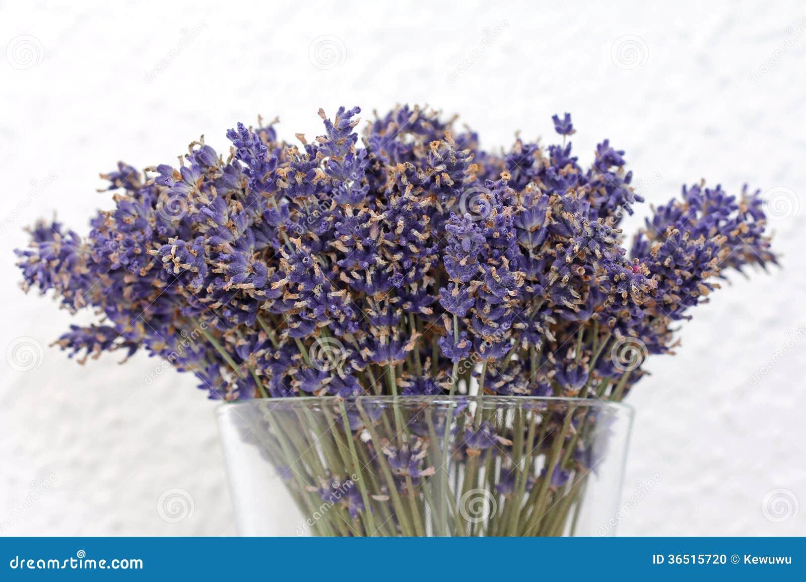 Un vase de fleurs sèches de lavande