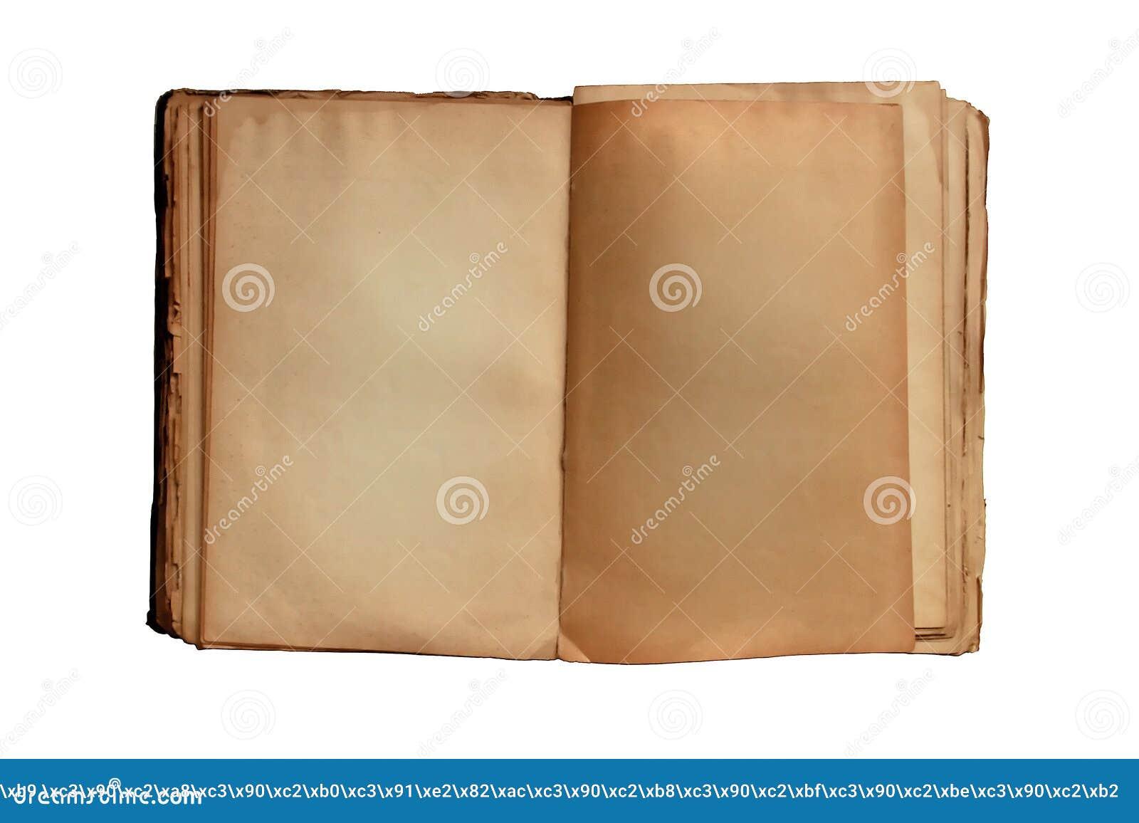 Un Vecchio Libro Aperto Con Pagine Gialle Su Fondo Bianco ...