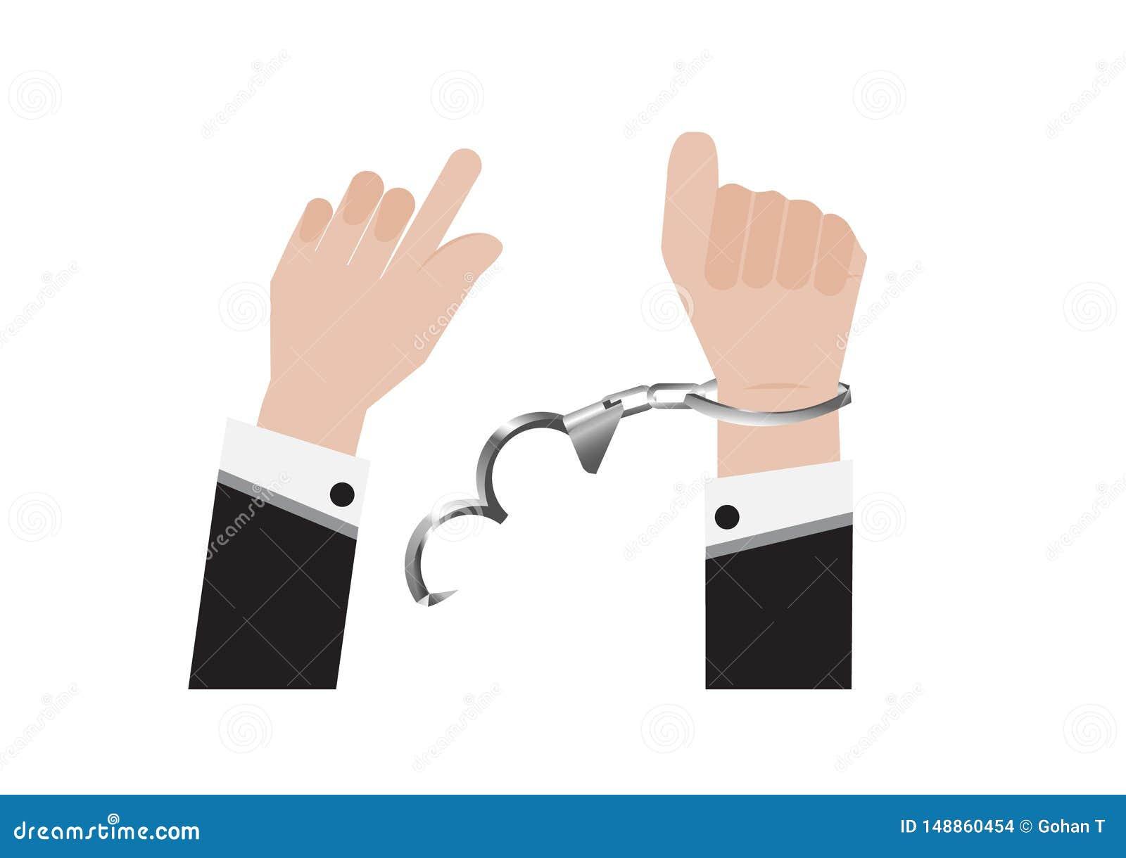 Un vector de la mano de la libertad de la esposas vendada de preso o de hombre de negocios en traje trasero y del control arresta