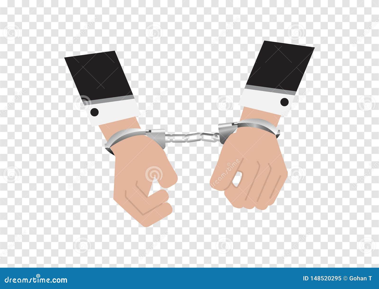 Un vector de manos del hombre de negocios en traje trasero arrestó control poniendo las esposas de plata aisladas en el fondo de