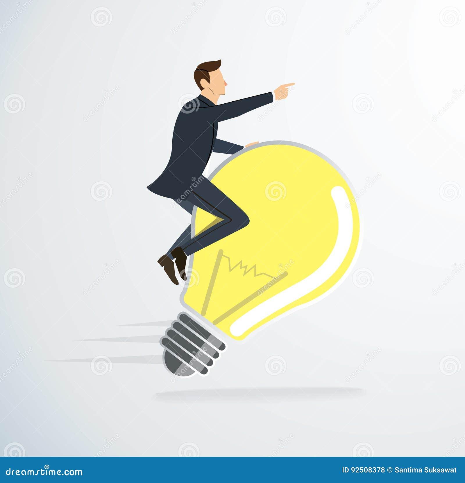 Un vector del icono de la bombilla de montar a caballo del hombre Concepto de pensamiento Símbolo creativo
