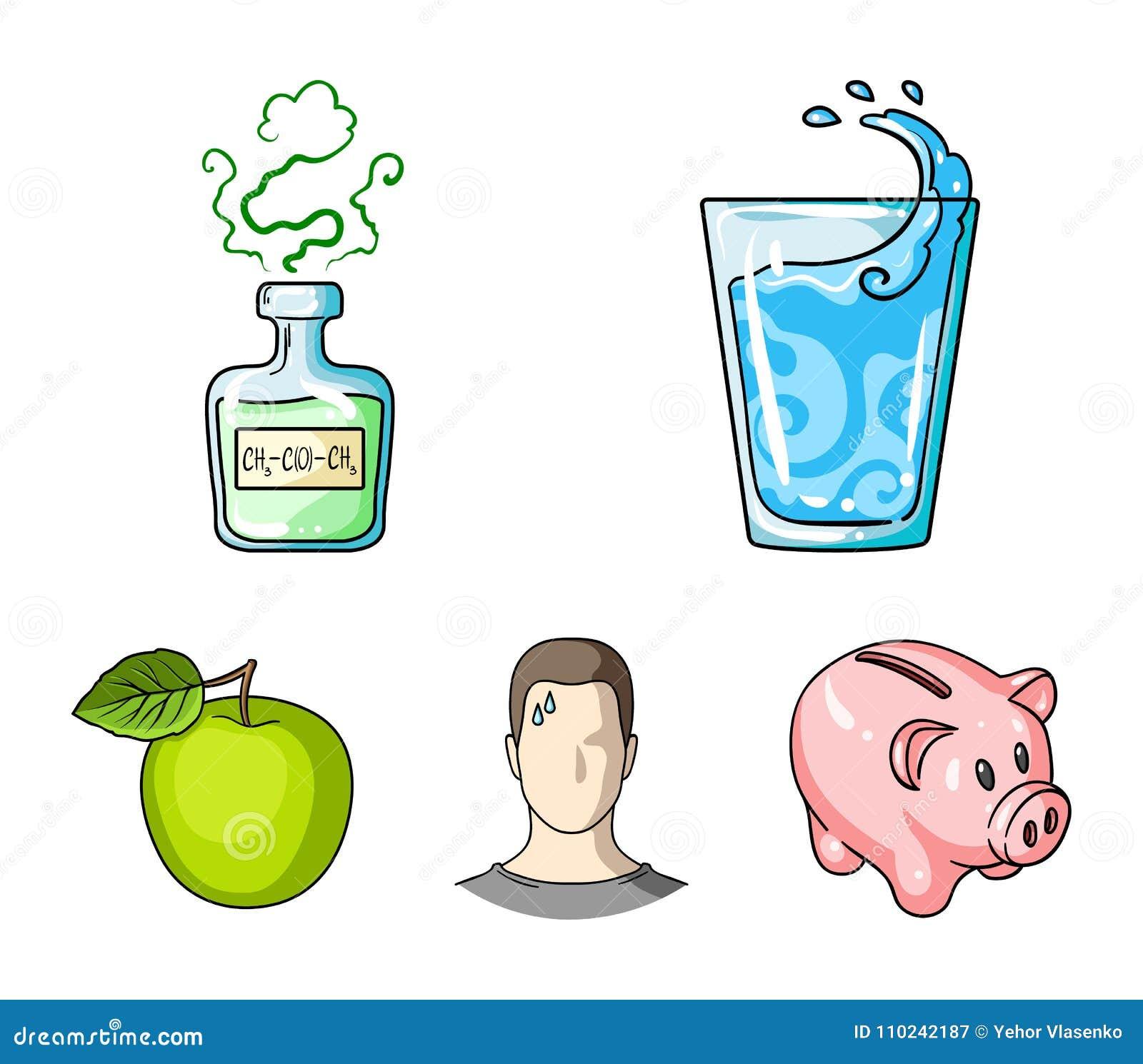 Un verre de l eau, une bouteille d alcool, un homme de transpiration, une pomme Icônes réglées de collection de Diabeth dans le v