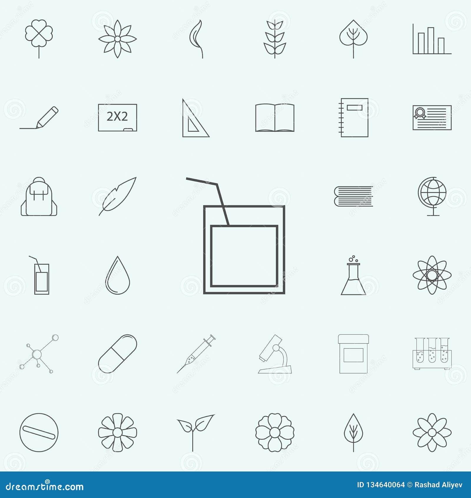 Un verre de whiskey avec une icône de paille ensemble universel d icônes de Web pour le Web et le mobile