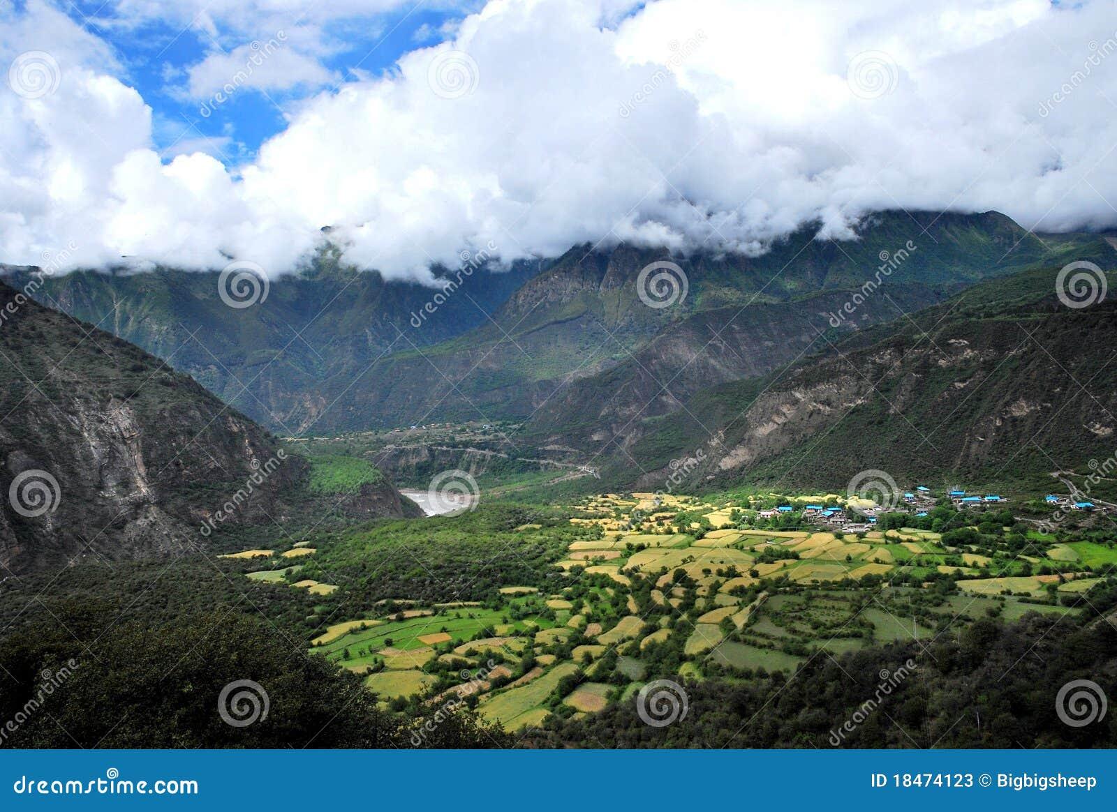 Una aldea minúscula en Tíbet