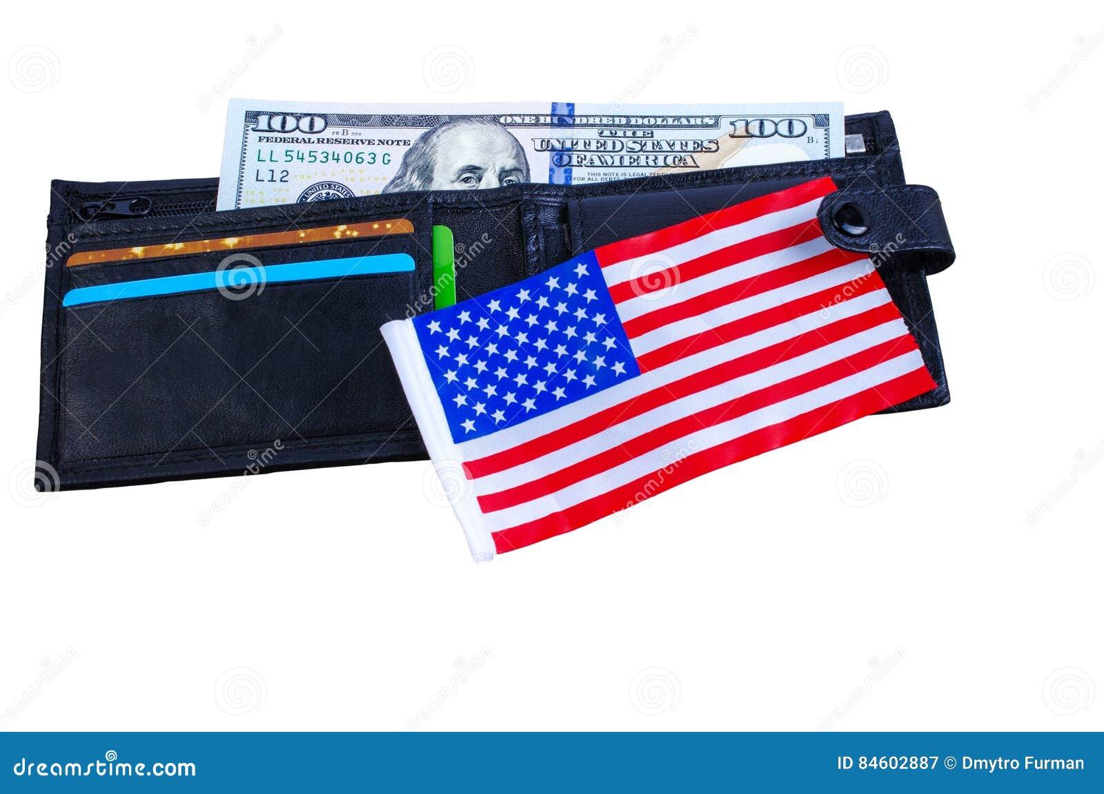 Una Banconota Cento Dollari, Borsa Nera E Una Bandiera ...