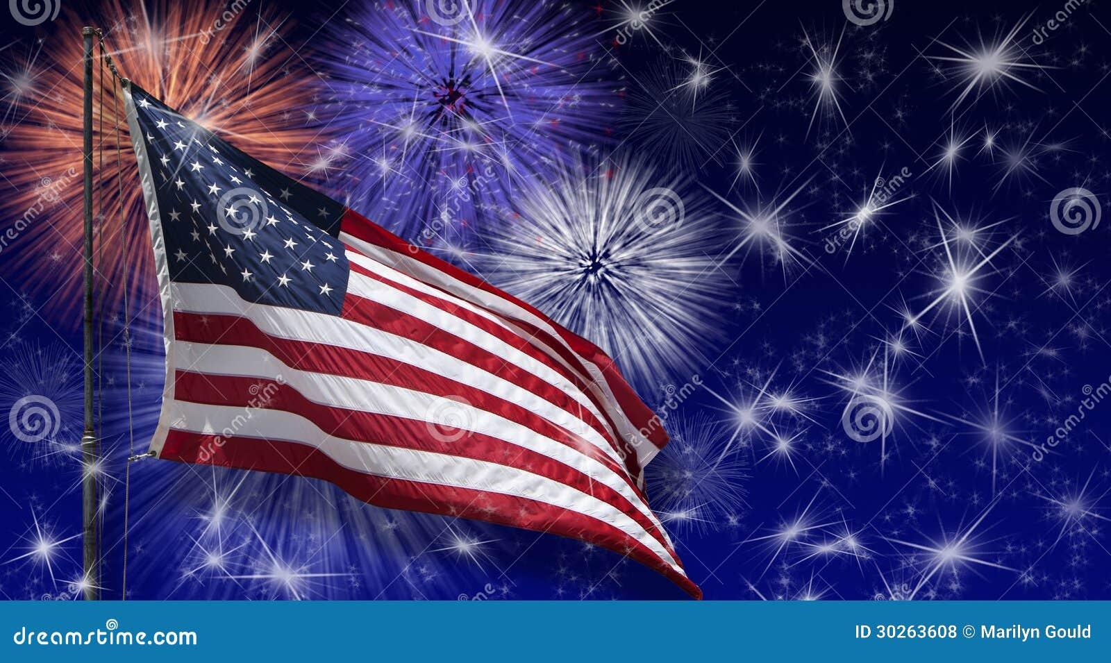 Fuegos artificiales de la bandera de los E.E.U.U.