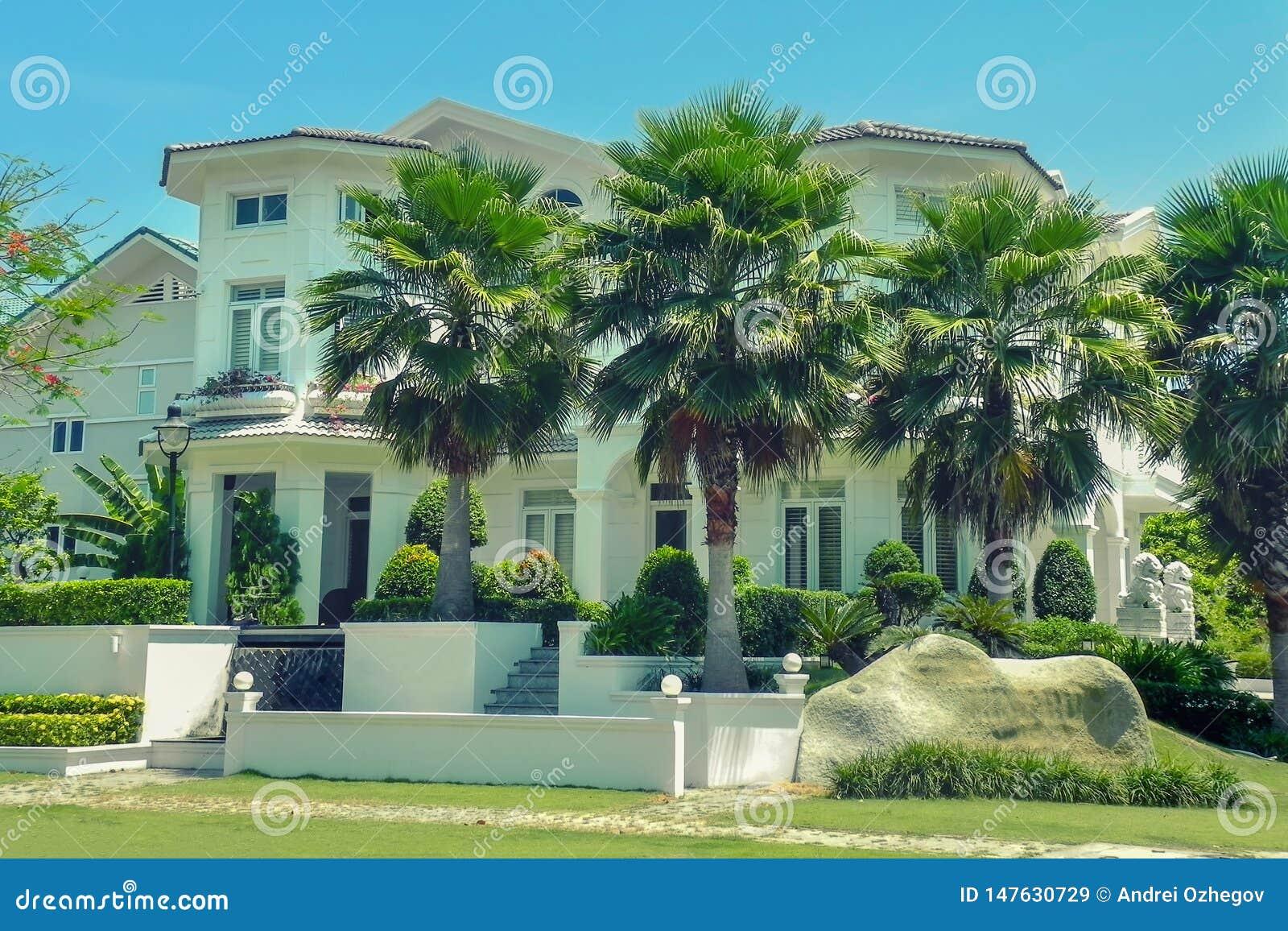 Villa A Tre Piani una bella casa a tre piani con le palme immagine stock