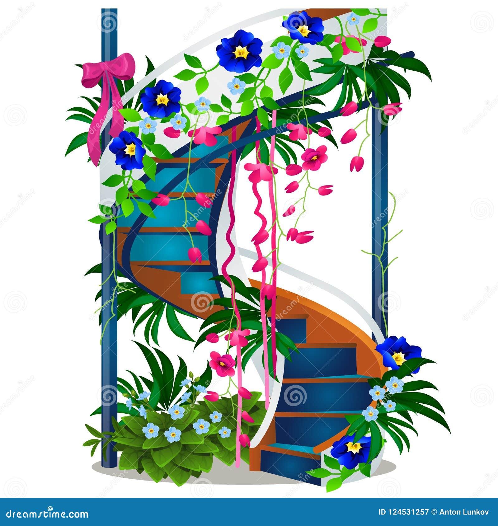 Una bella scala a chiocciola con i fiori isolati su fondo for Disegnare una scala a chiocciola con autocad