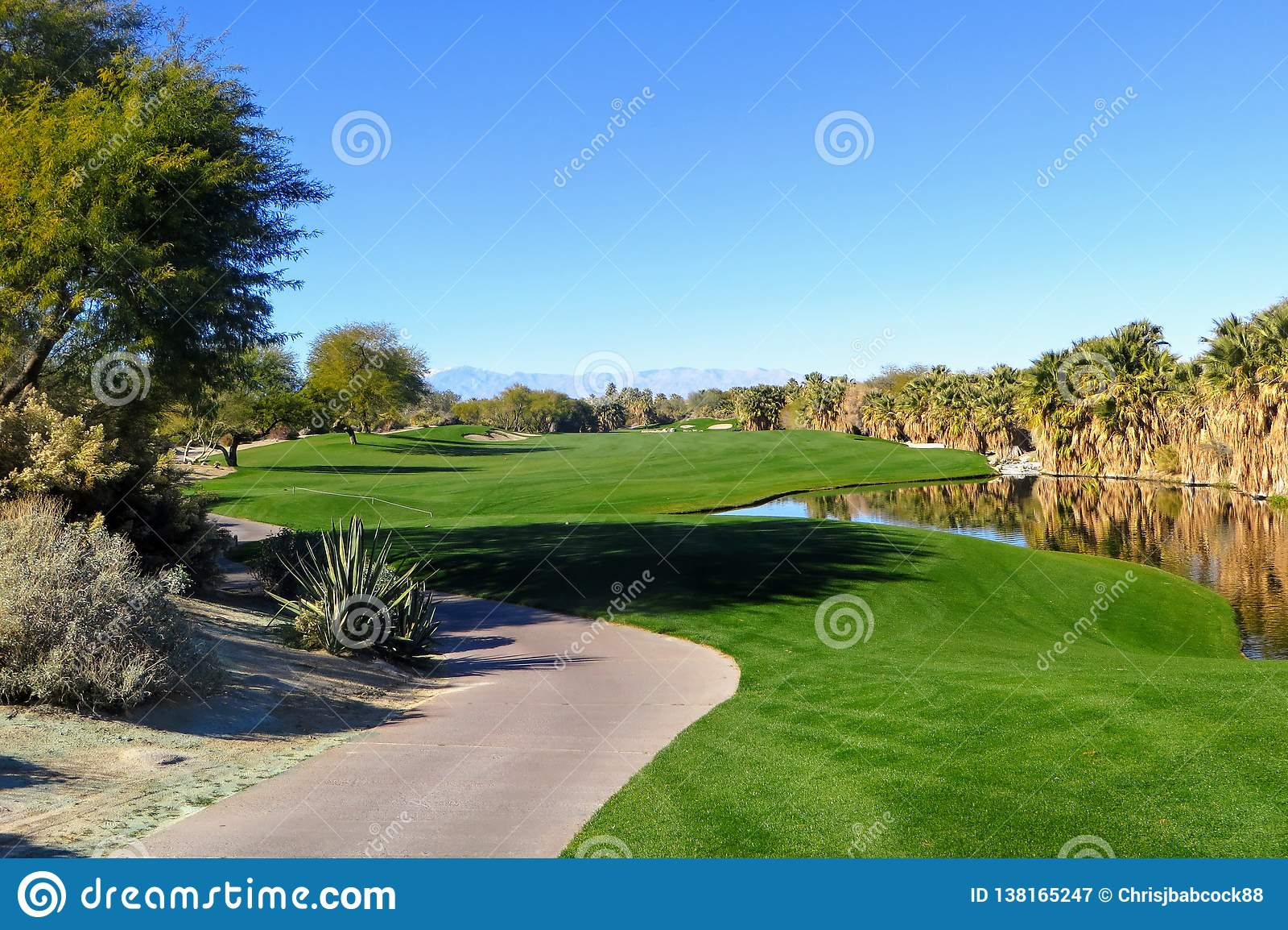 Una bella vista di una parità 5 con il deserto che circonda il foro come pure uno stagno Il campo da golf è in Palm Springs