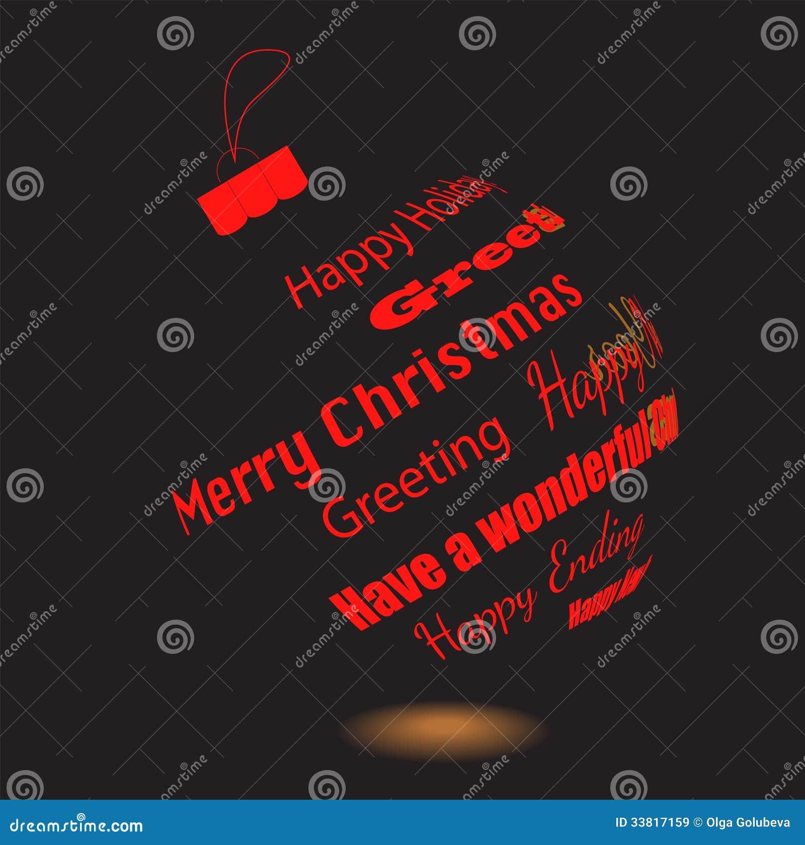 Frases Hechas Para Navidad.Una Bola Negra De La Navidad De Frases De Saludo Hechas