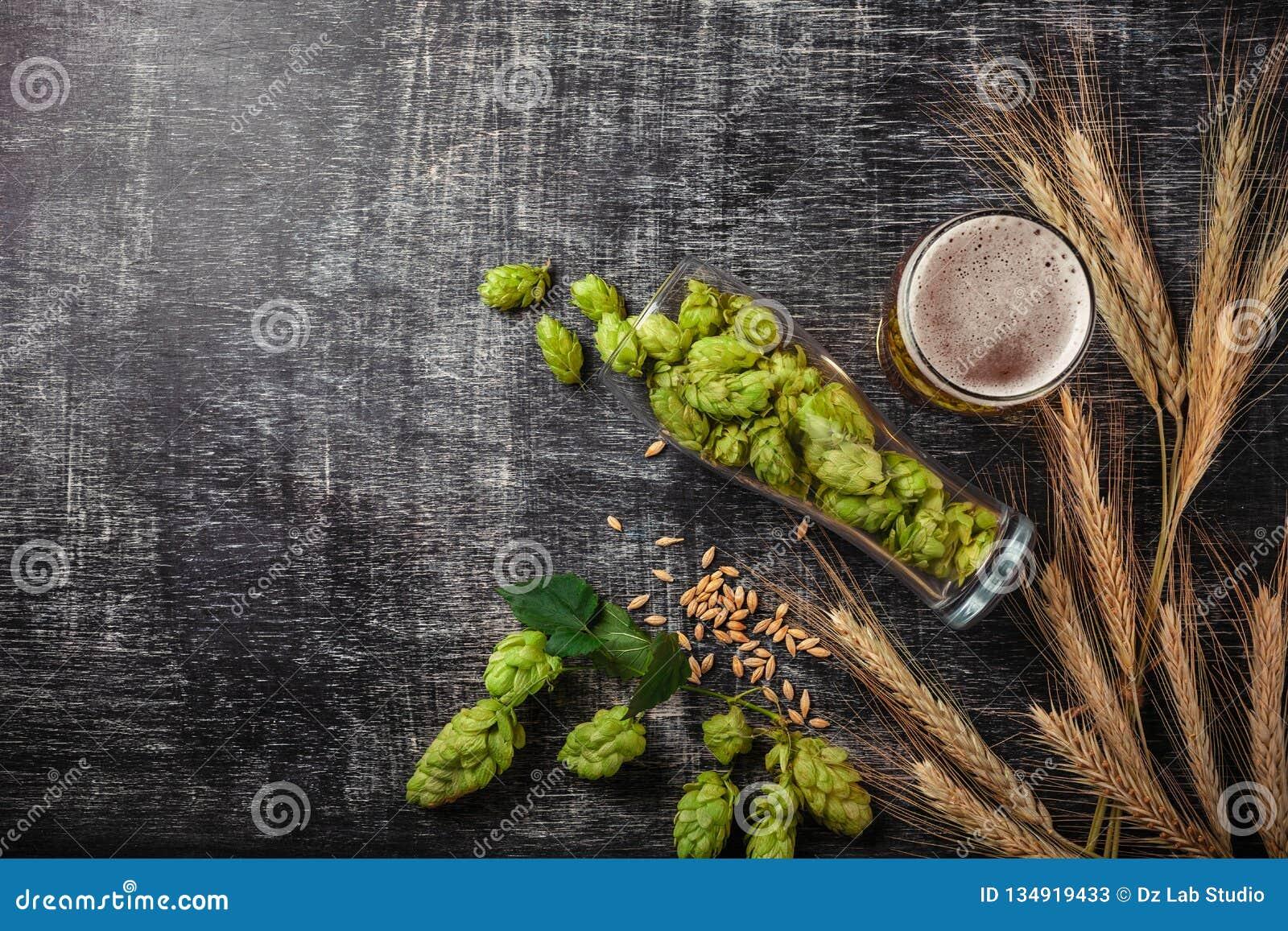 Una botella de cerveza con los saltos, la avena, las espiguillas del trigo, el abrelatas y los vidrios verdes con la cerveza oscu