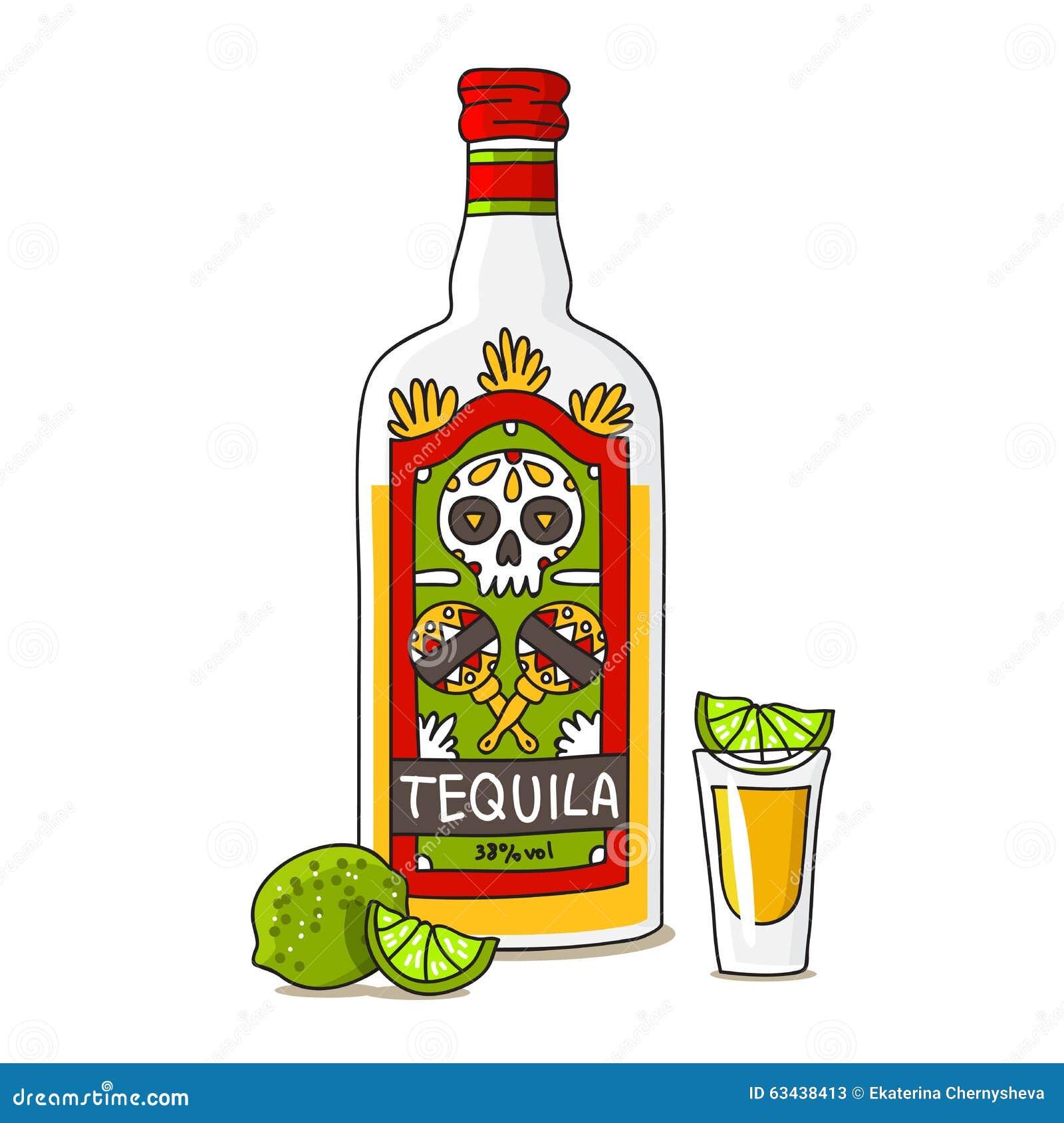 Una Botella De Tequila Con La Cal Ilustración del Vector ...