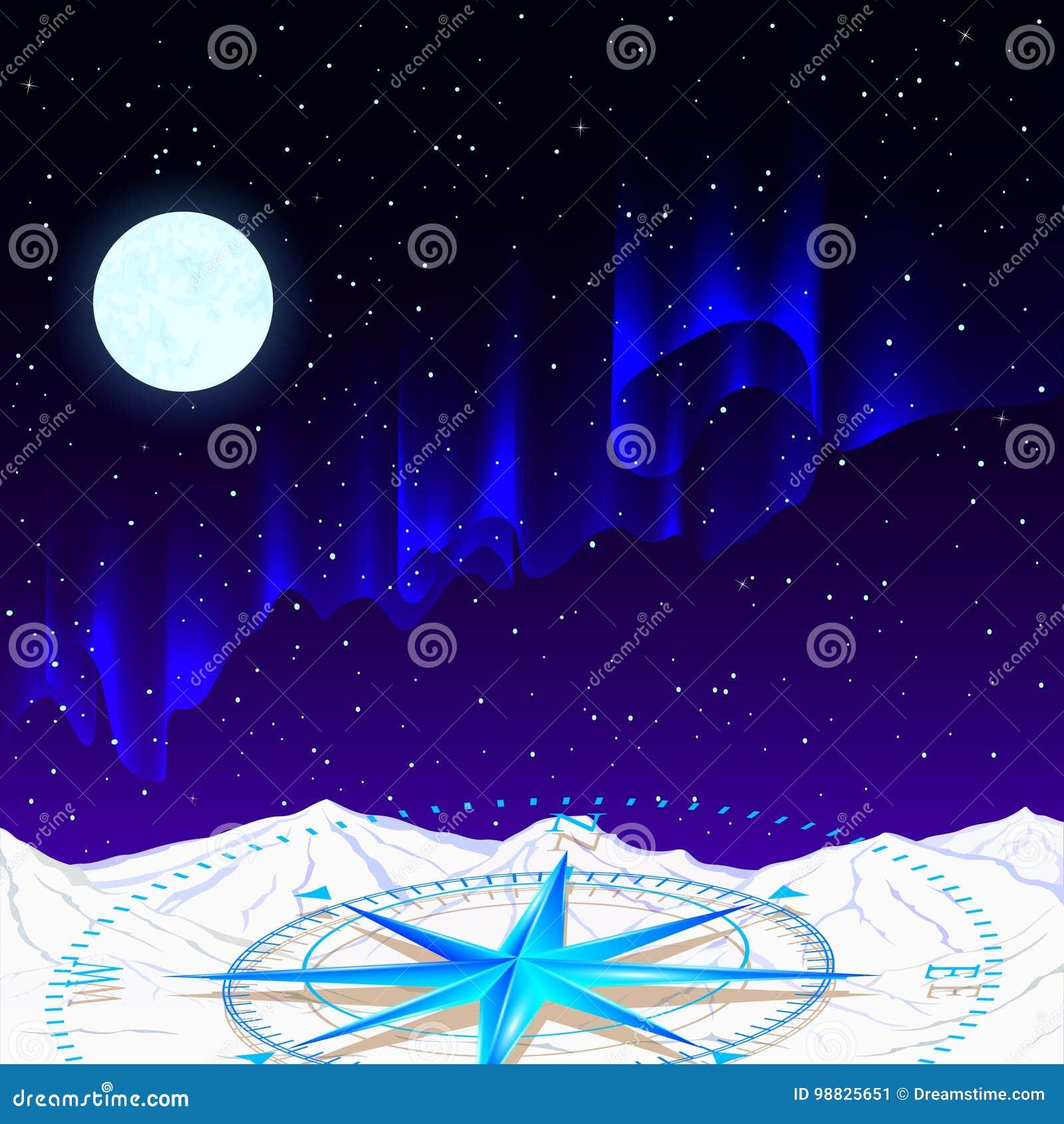 Una Bussola Blu Dardore Contro Lo Sfondo Del Cielo Stellato