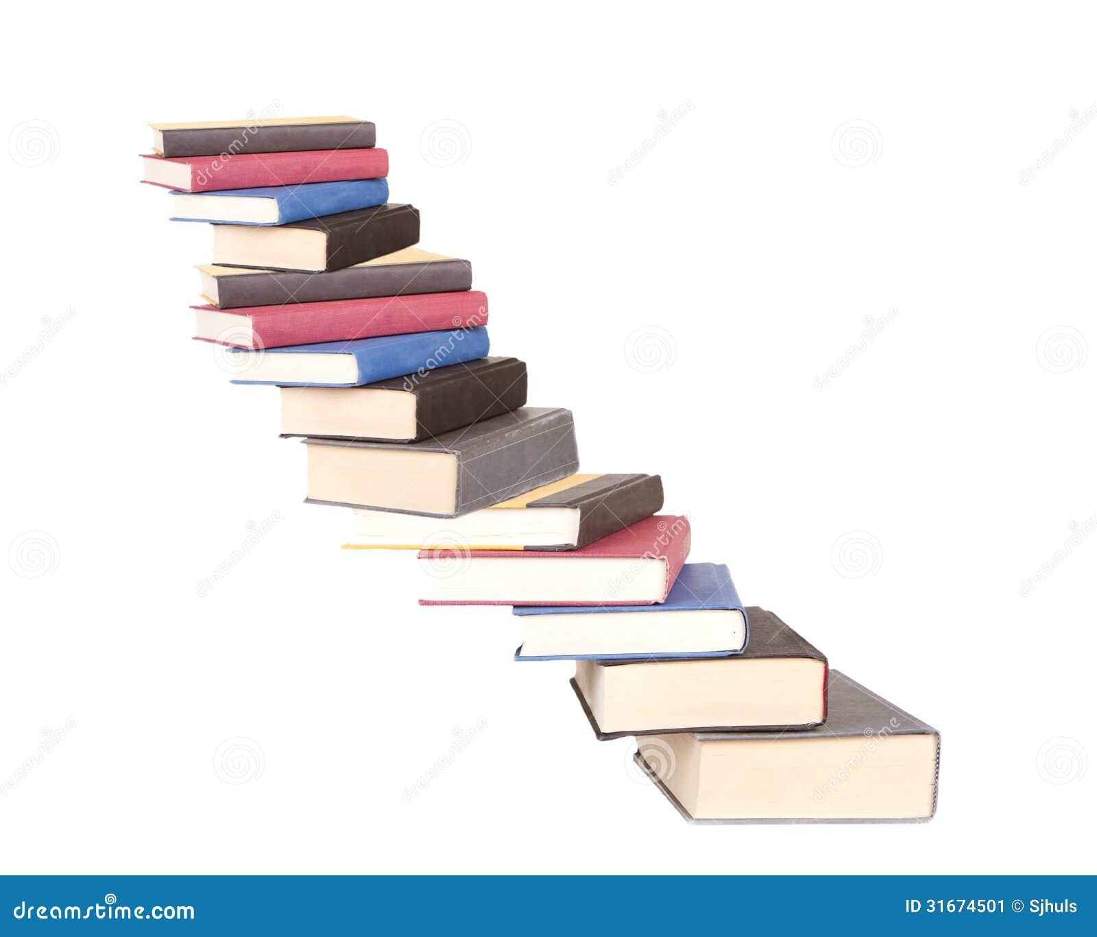 Una caja de la escalera de libros imagen de archivo for Escalera libreria