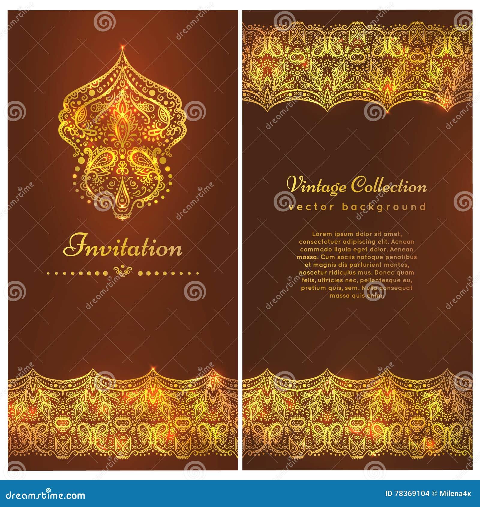 Una carta d annata di lusso Invito con i bei ornamenti dorati, struttura del damasco, confine Modello reale dell oro