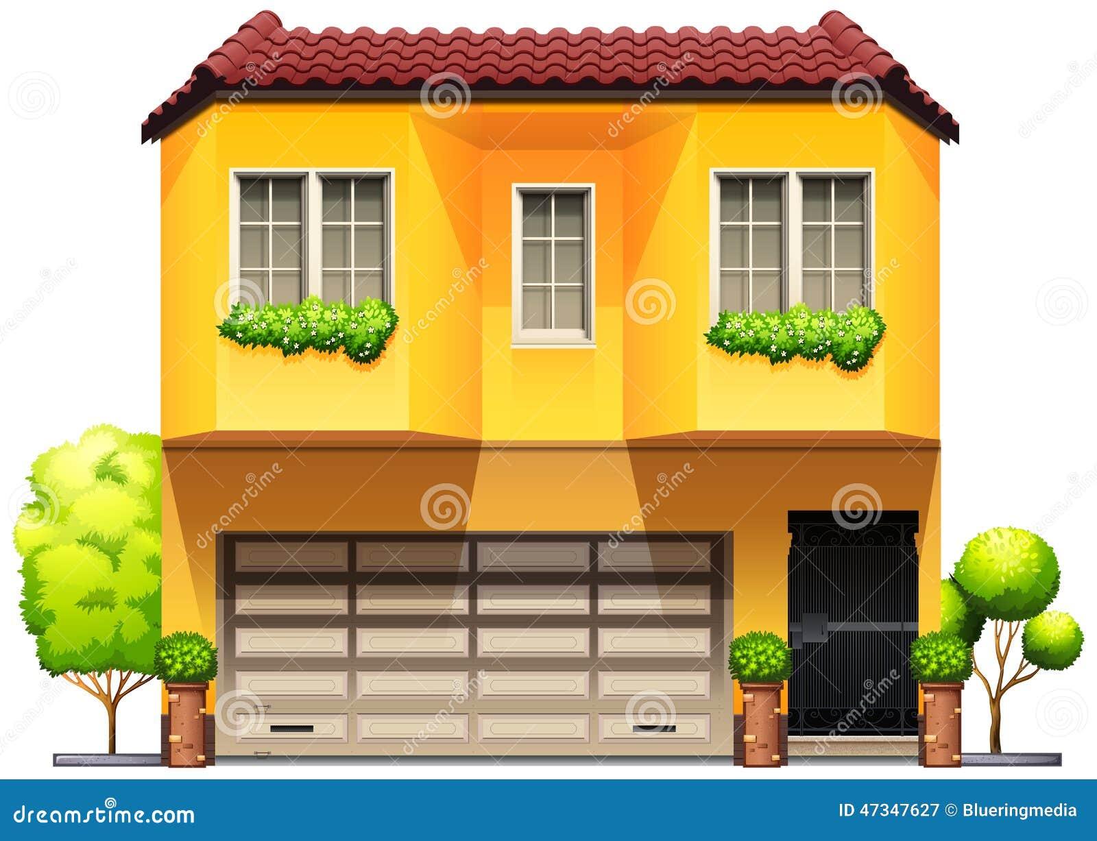 Una casa amarilla grande ilustraci n del vector imagen de Casa amarilla sucursales