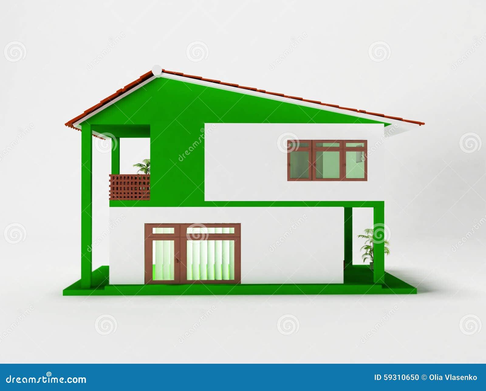 Una casa a due piani semplice illustrazione di stock for Piani di una casa di pensionamento storia